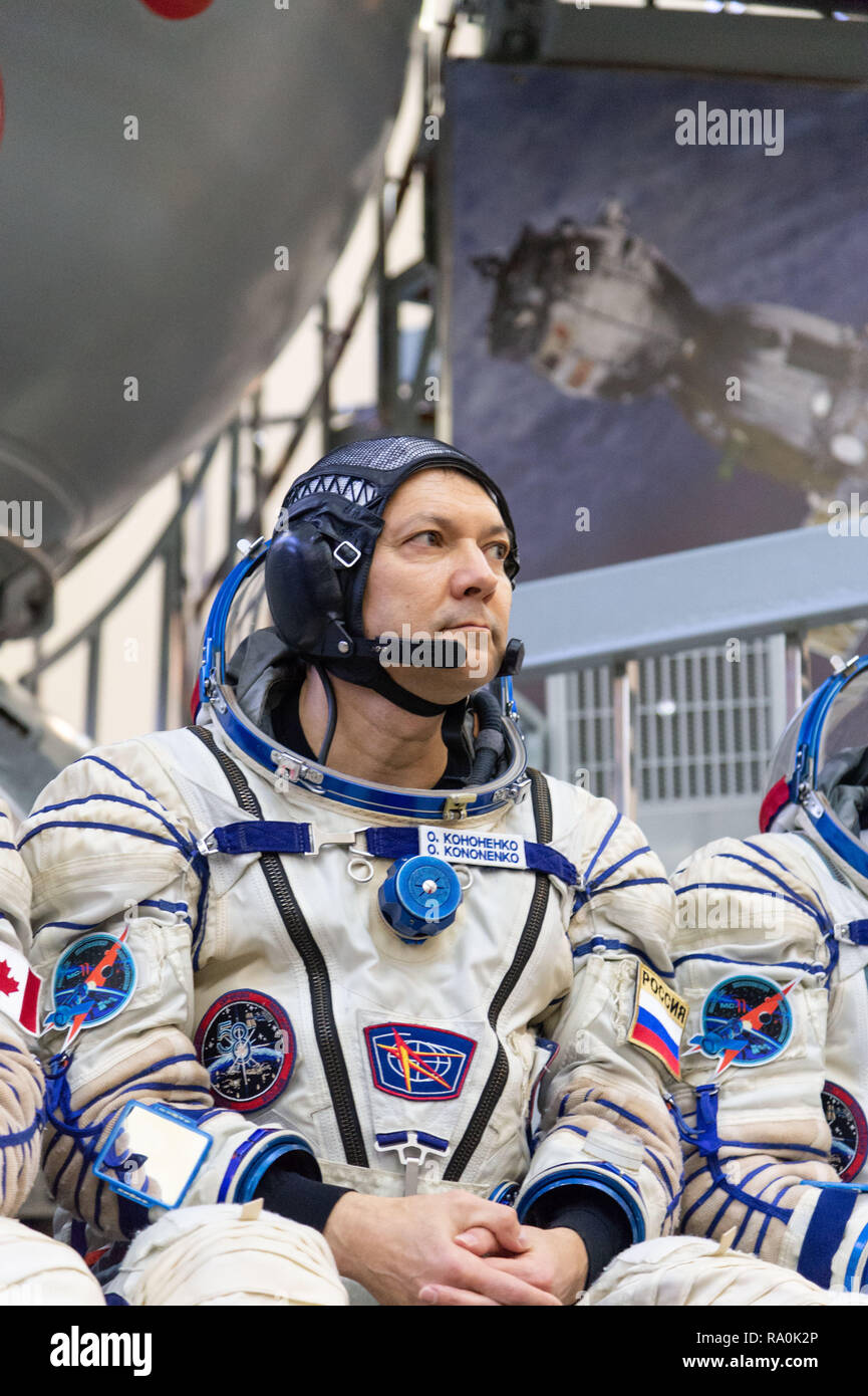 International Space Station Expedition 58 crew member Oleg Kononenko of Roscosmo takes questions from reporters outside the Soyuz simulator at the Gagarin Cosmonaut Training Center November 14, 2018 in Star City, Russia. The three are scheduled to launch December 3rd from the Baikonur Cosmodrome in Kazakhstan for a six-and-a-half month mission on the International Space Station. - Stock Image