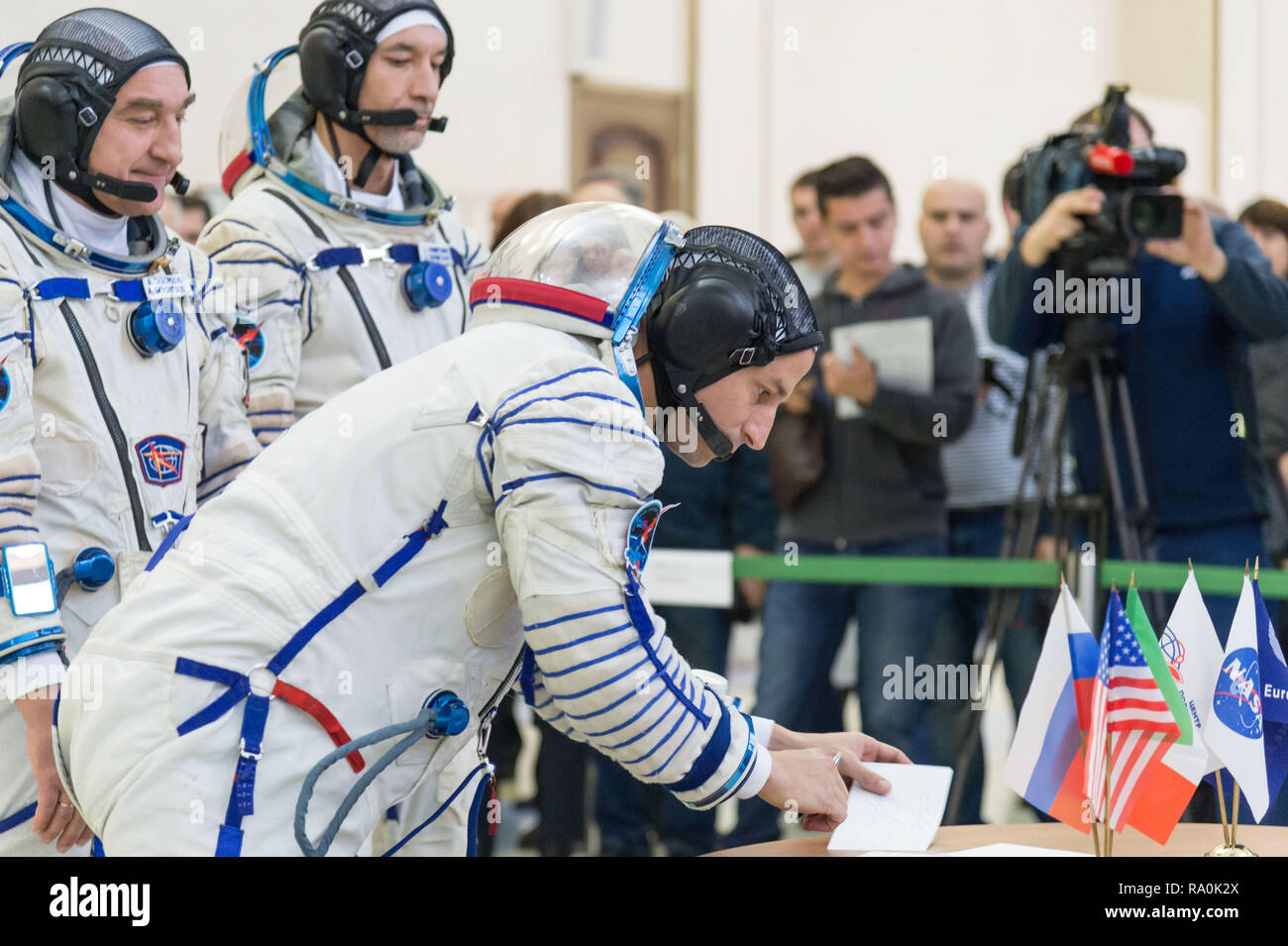 International Space Station Expedition 58 backup crew member Drew Morgan of NASA signs in for the final day of qualification exams at the Gagarin Cosmonaut Training Center November 13, 2018 in Star City, Russia. The three are scheduled to launch December 3rd from the Baikonur Cosmodrome in Kazakhstan for a six-and-a-half month mission on the International Space Station. - Stock Image