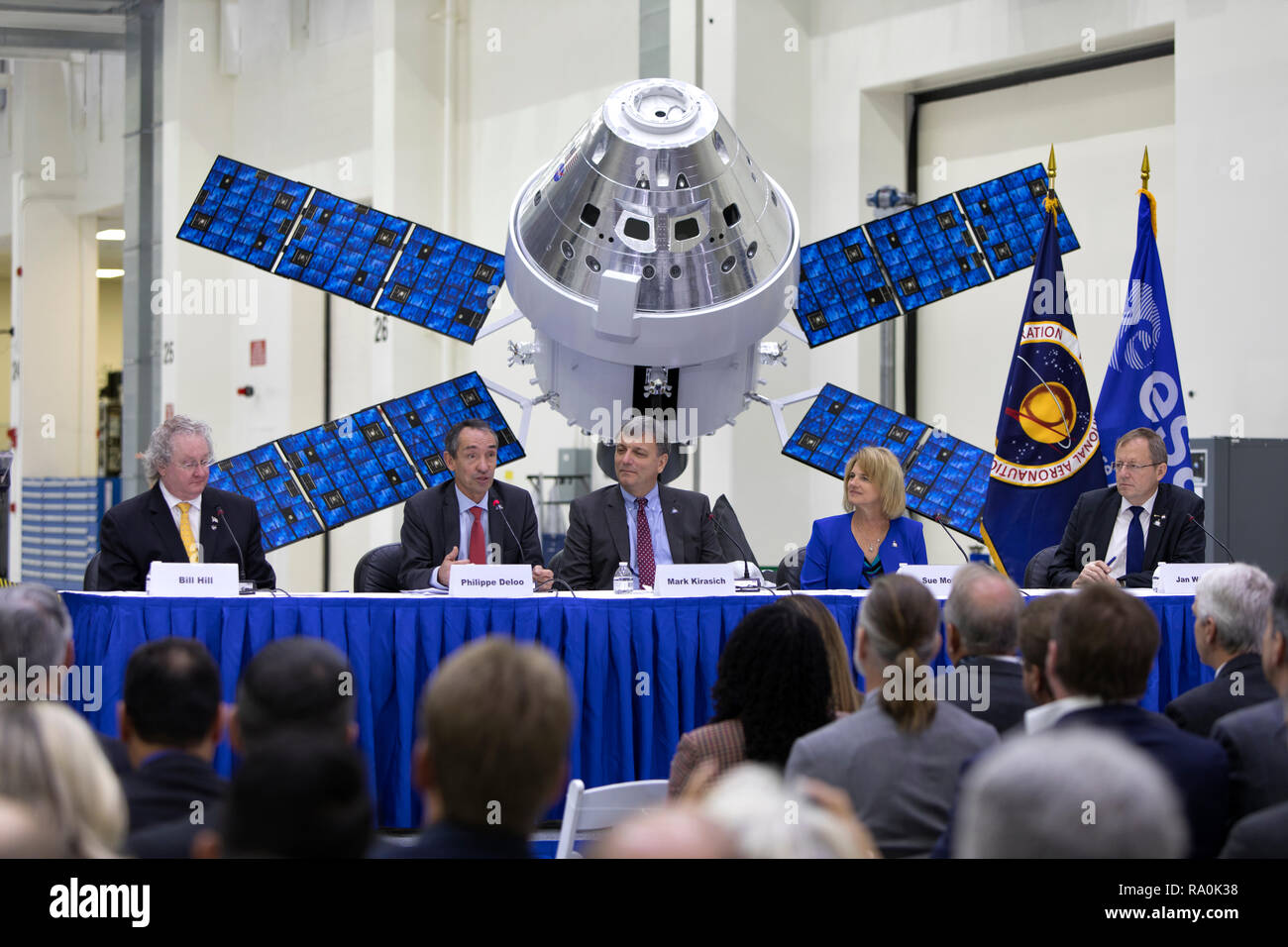 NASA and European Space Agency  senior managers answer questions during the Powering Exploration Mission ceremony in the Neil Armstrong Operations and Checkout Building high bay at the Kennedy Space Center November 16, 2018 in Cape Canaveral, Florida. From left, are Bill Hill, deputy associate administrator for Exploration Systems Development; Phillippe Deloo, European Service Module program manager at ESA; Mark Kirasich, Orion Program manager at the Johnson Space Center in Houston; Sue Motil, Orion European Service Module integration manager at the Glenn Research Center; and Jan Worner, ESA d - Stock Image
