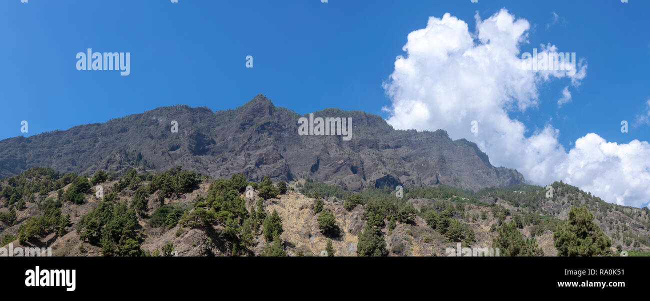 Volcanic panaromic at Barranco  de las Augustias, La Palma, Canary Islands, Spain - Stock Image