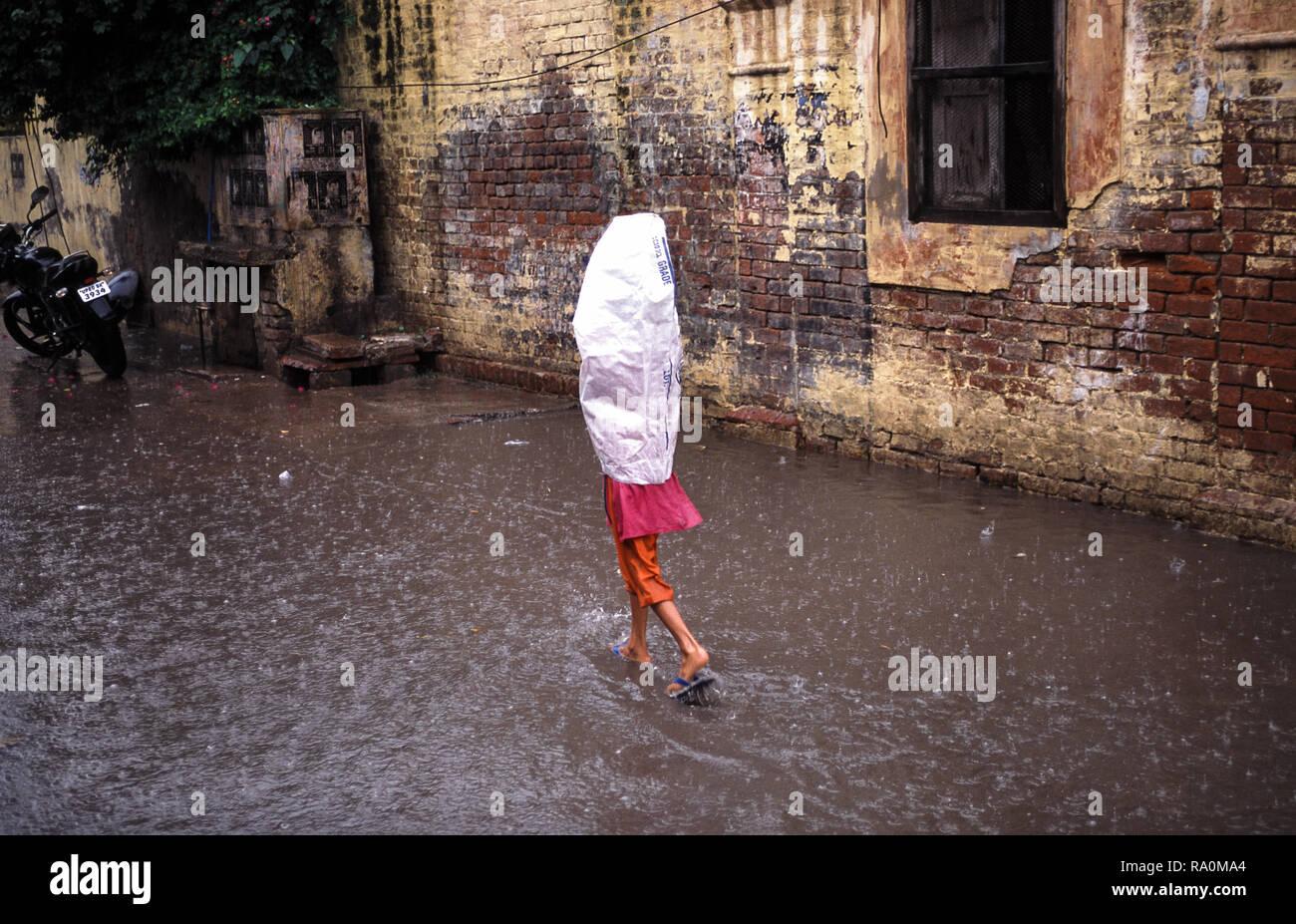 23.08.2010, Agra, Uttar Pradesh, Indien, Asien - Ein Fussgaenger watet waehrend eines Monsungewitters durch knoecheltiefes Hochwasser auf einer Strass - Stock Image