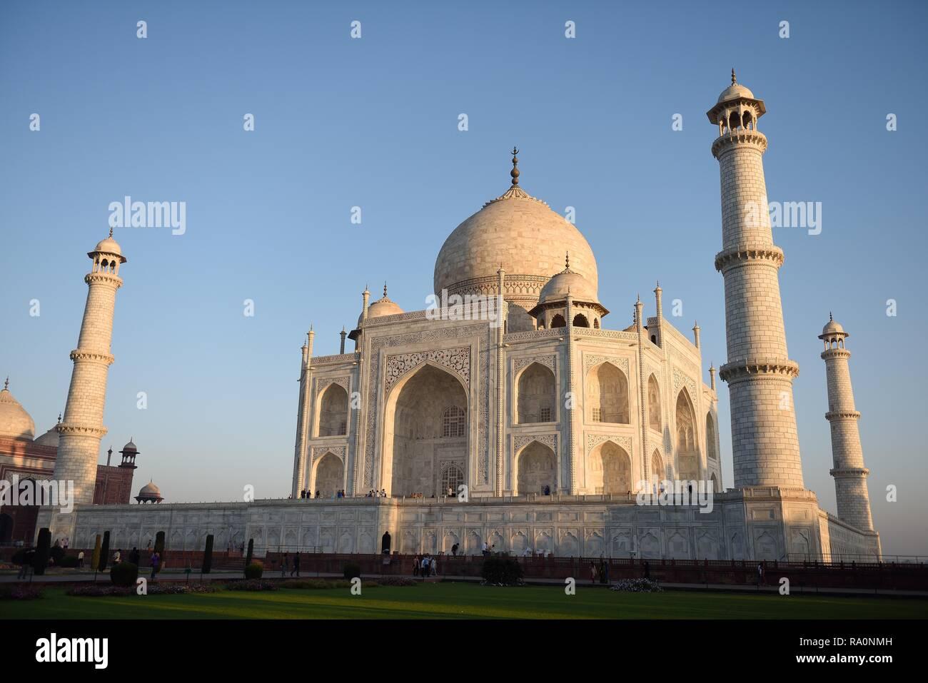 Angled view of the white Makrana marble Taj Mahal at sunrise in Agra, India. - Stock Image