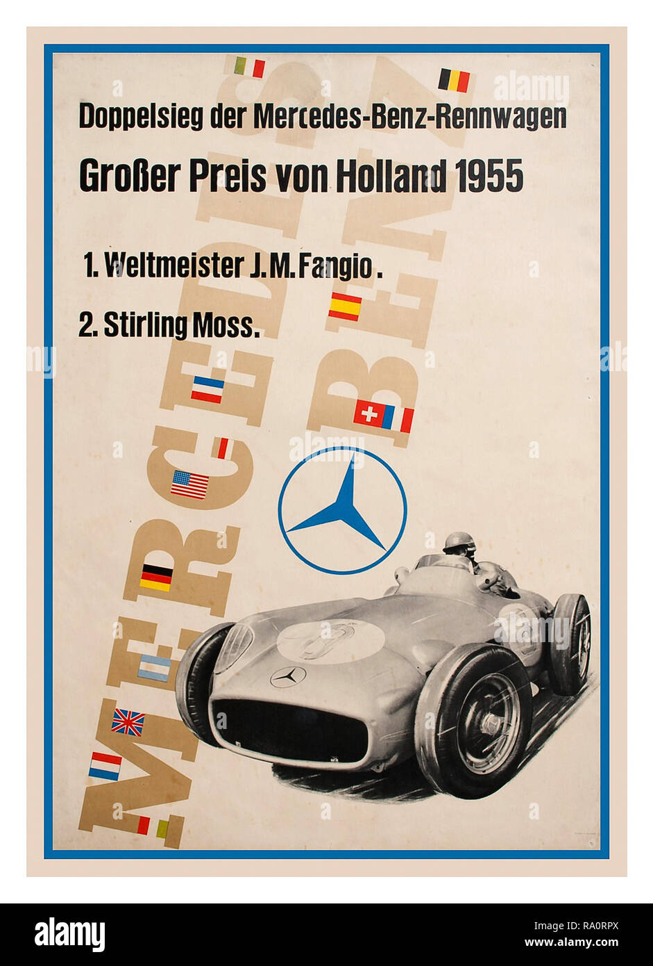 Grand Prix 1950's Vintage Poster Holland Grand Prix Motor Racing Competition Mercedes Benz Victory with Juan Fangio First Place Stirling Moss Second Place 1955 'Great Result in Holland'   'Double Victory with Mercedes Racing Car' - Stock Image