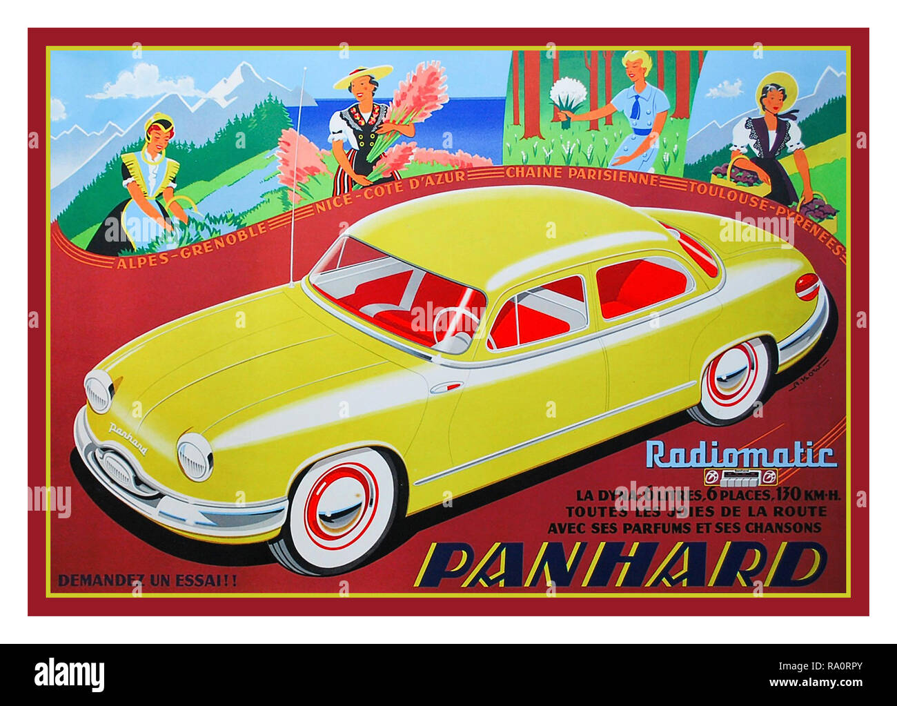 Vintage 1950's Panhard Dyna French Motorcar with latest  'Radiomatic' tuneable radio installed 1954/1955 French Sedan Lifestyle Advertising Car Poster by Artist Alexis Kow Colour Lithograph printed by SA Courbet Paris France - Stock Image