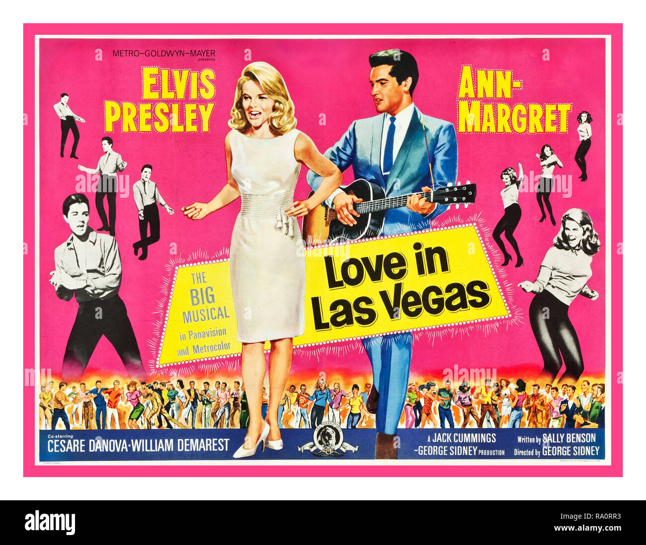 VIVA LAS VEGAS ('LOVE IN LAS VEGAS') Vintage Elvis Presley Movie Film Cinema Musical Poster 1964 alternative title ''Love in Las Vegas' starring Elvis Presley Ann Margret, Cesare Danova, William Demarest Directed by George Sidney Written by Sally Benson. Produced by Jack Cummings/George Sidney 1960's USA In Great Britain, both the movie and its soundtrack were sold as Love In Las Vegas to avoid a conflict with a similarly named different ' Viva Las Vegas' movie in the UK - Stock Image