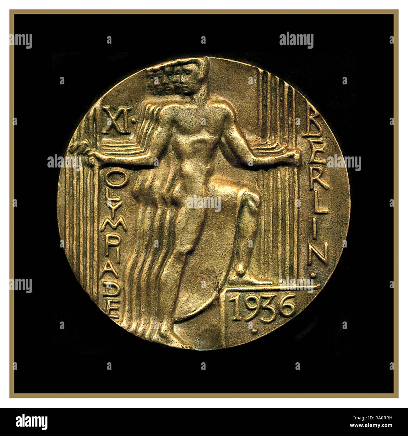 Olympic Games Berlin 1936 Gold Medal - official participation medal from the Olympic Games in Berlin 1936. - Stock Image