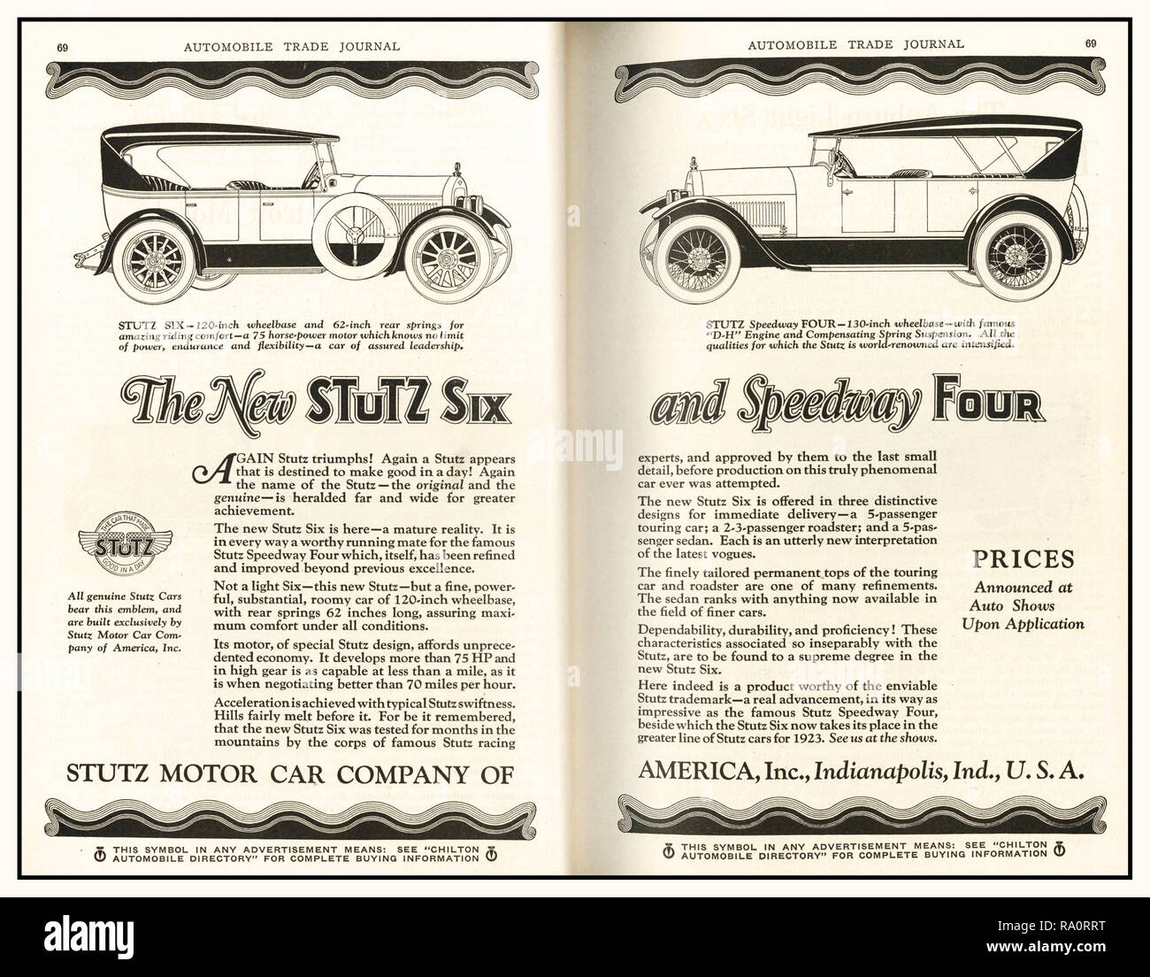 Archive Press advertisement for 1920's Stutz American Automobiles 'The New Stutz Six and Speedway Four' Stutz built some of the most mechanically advanced cars of the classic era. Advertised as 'The Car That Made Good in a Day' referring to their first showing at the 1911 Indianapolis 500; Stutz was an incredibly powerful, fast and sleek car on the track or on the road. - Stock Image