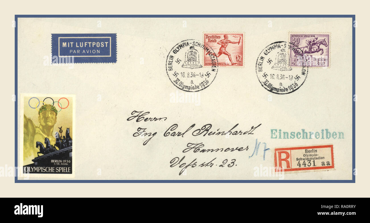 1936 Nazi Olympic Games First Day Cover Envelope with official Olympic Games Postage Stamps Franked with Nazi Swastika dated Stamp 16-8-1936 - Stock Image