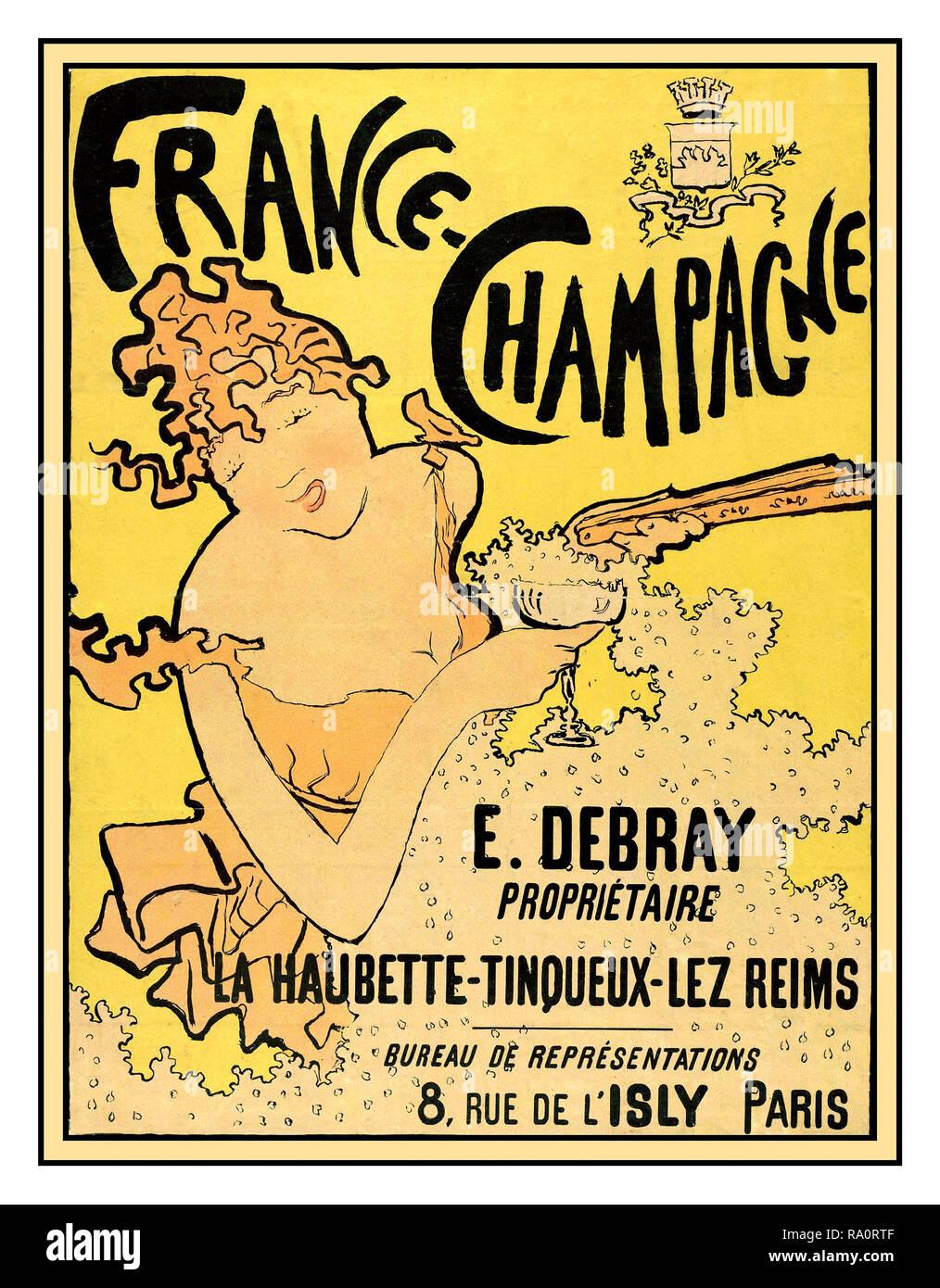 Vintage 'Debray' French Champagne Poster by artist Pierre Bonnard in Art Nouveau Style LA HAUBETTE-TINQUEX-LES-REIMS 1890-1900's France - Stock Image