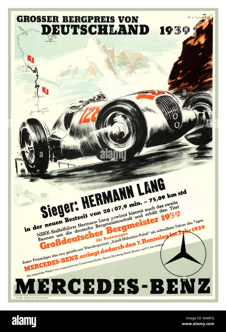 Vintage 1930's German Motor Racing Poster with Nazi Swastika start-finish flags  'Grosser Bergpreis Von Deutschland 1939' - A Mercedes Benz vintage motorsport poster promoting Mercedes-Benz at the German mountain race, 'Grosser Bergpreis Von Deutschland 1939', featuring prominent German race driver Hermann Lang driving a Number 128 Mercedes  'Silver Arrow' (Silberpfeil) It was the name given by enthusiasts and the motoring press to Germany's supreme commanding Mercedes-Benz Grand Prix motor racing cars in the 1930's - Stock Image