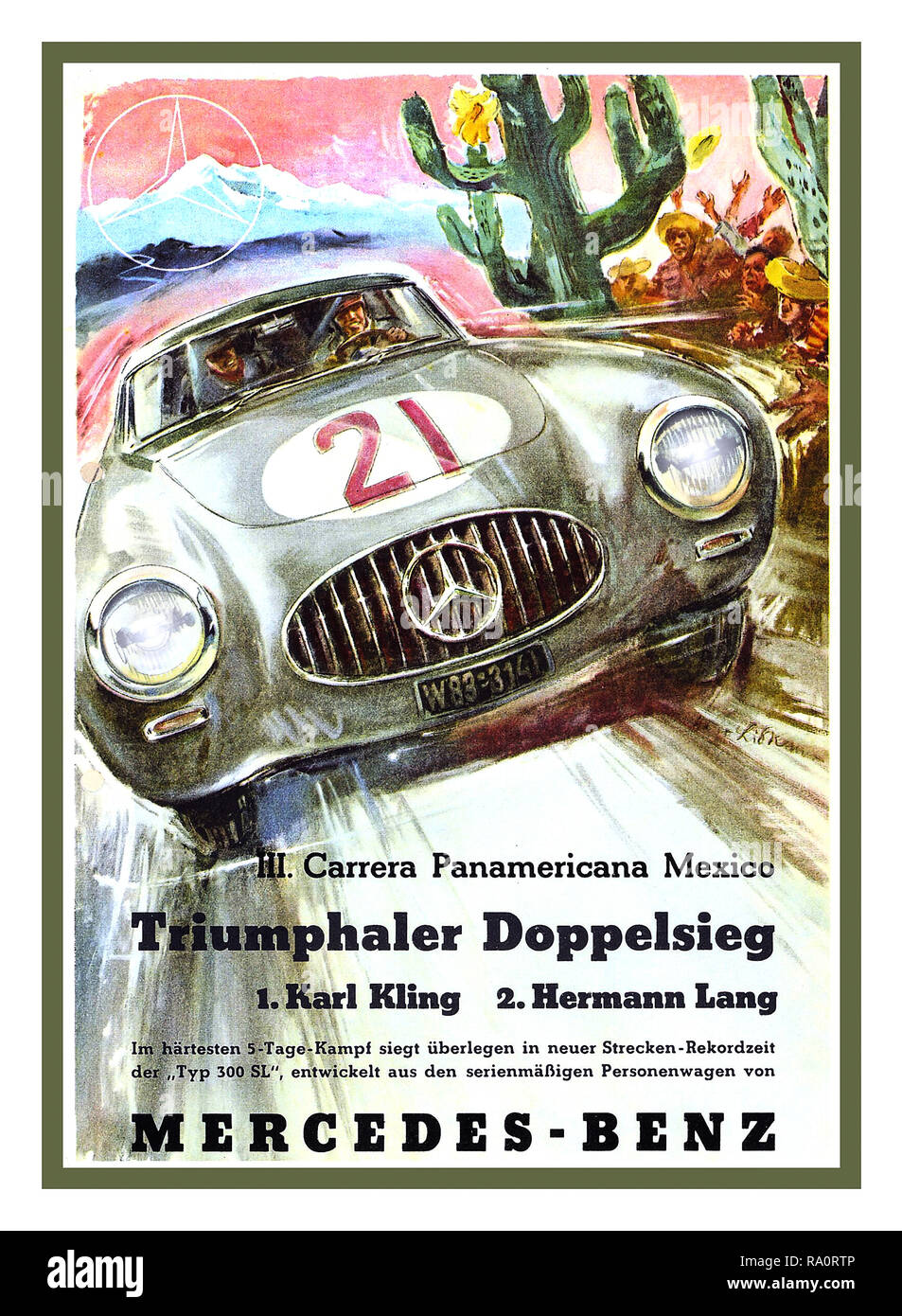 Vintage Motor Racing Poster 'TRIUMPHALER DOPPELSIEG' 1952 Carrera Panamericana Mexico with Karl Kling in First Place and Hermann Lang in Second Place both driving renowned Mercedes 300 SL Sports Cars W124  A double victory for the highly organised Mercedes Sports Team - Stock Image