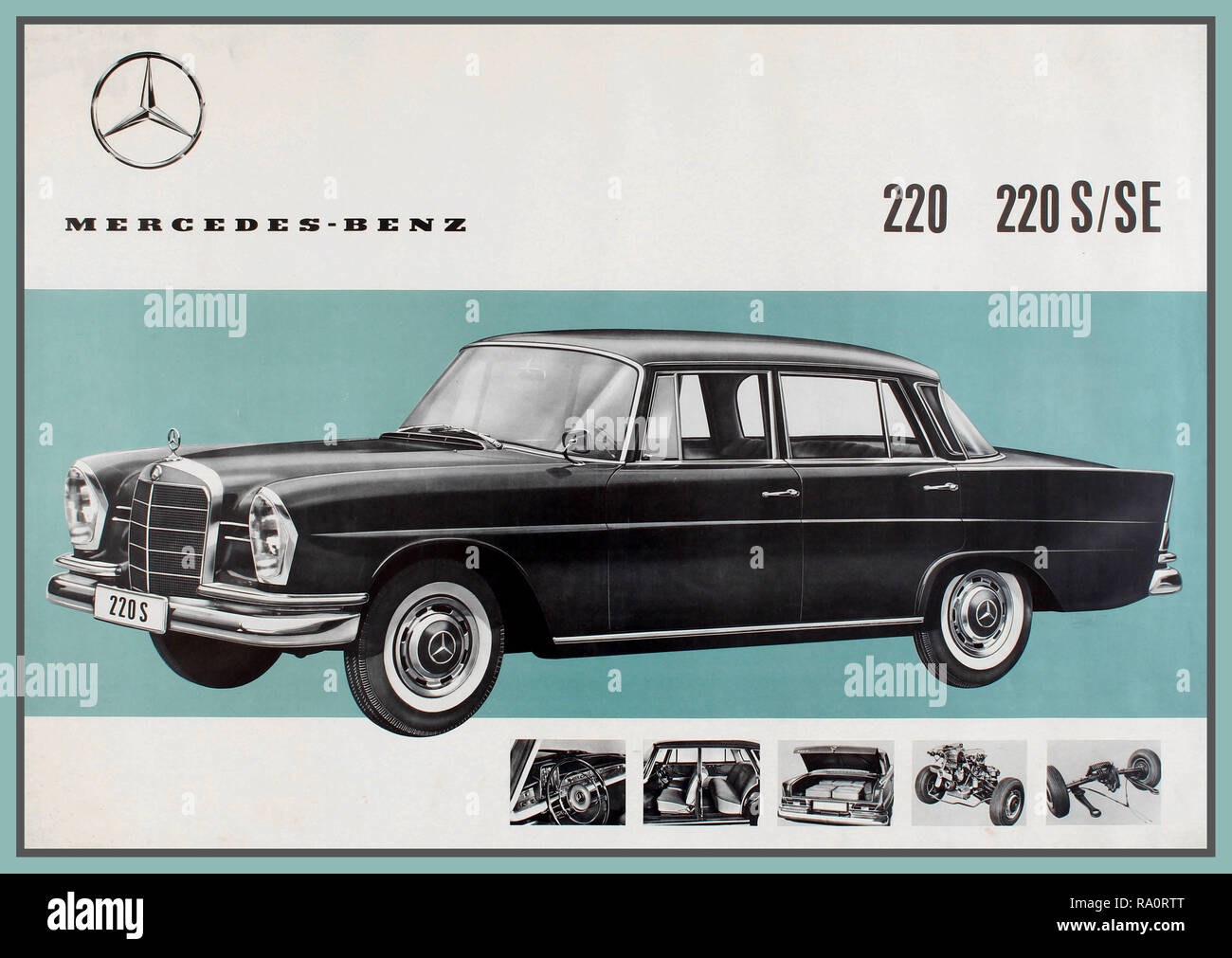 Vintage 1950's German Advertising Poster for Mercedes-Benz 220, 220 S/SE Saloon 4 door sedan Motorcars. Mercedes-Benz W128 chassis code  At the Geneva Motor Show 1954, the Mercedes-Benz 220 was launched.  The Mercedes-Benz 220 was a full-size luxury car. This production was the first in the Mercedes range to have a low-pivot point, single-joint swing axle. It was also the pioneer of the six-cylinder system. - Stock Image
