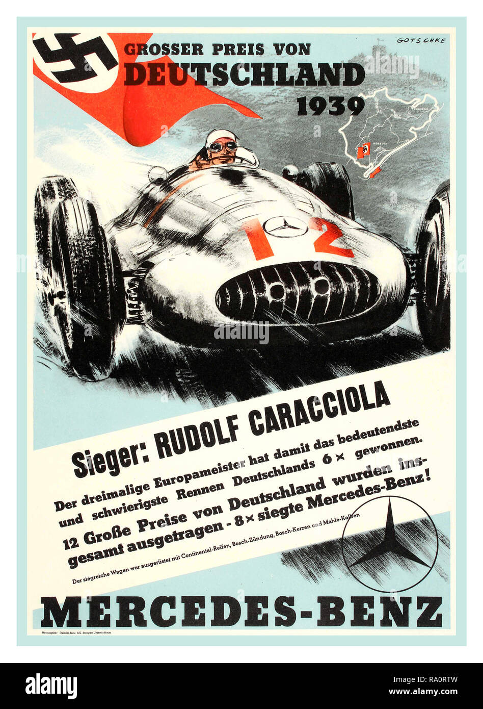 Vintage 1939 Nazi Germany Motor racing Poster with Swastika Flag 'Grosser Preis von Deutschland 1939' - German Grand Prix Mercedes Benz motor racing poster. Racing motorsport poster promoting Mercedes-Benz at the Grosser Preis von Deutschland 1939, featuring the winning driver German race driver Rudolph Caracciola driving a Number 12 Mercedes Silver Arrow - Stock Image