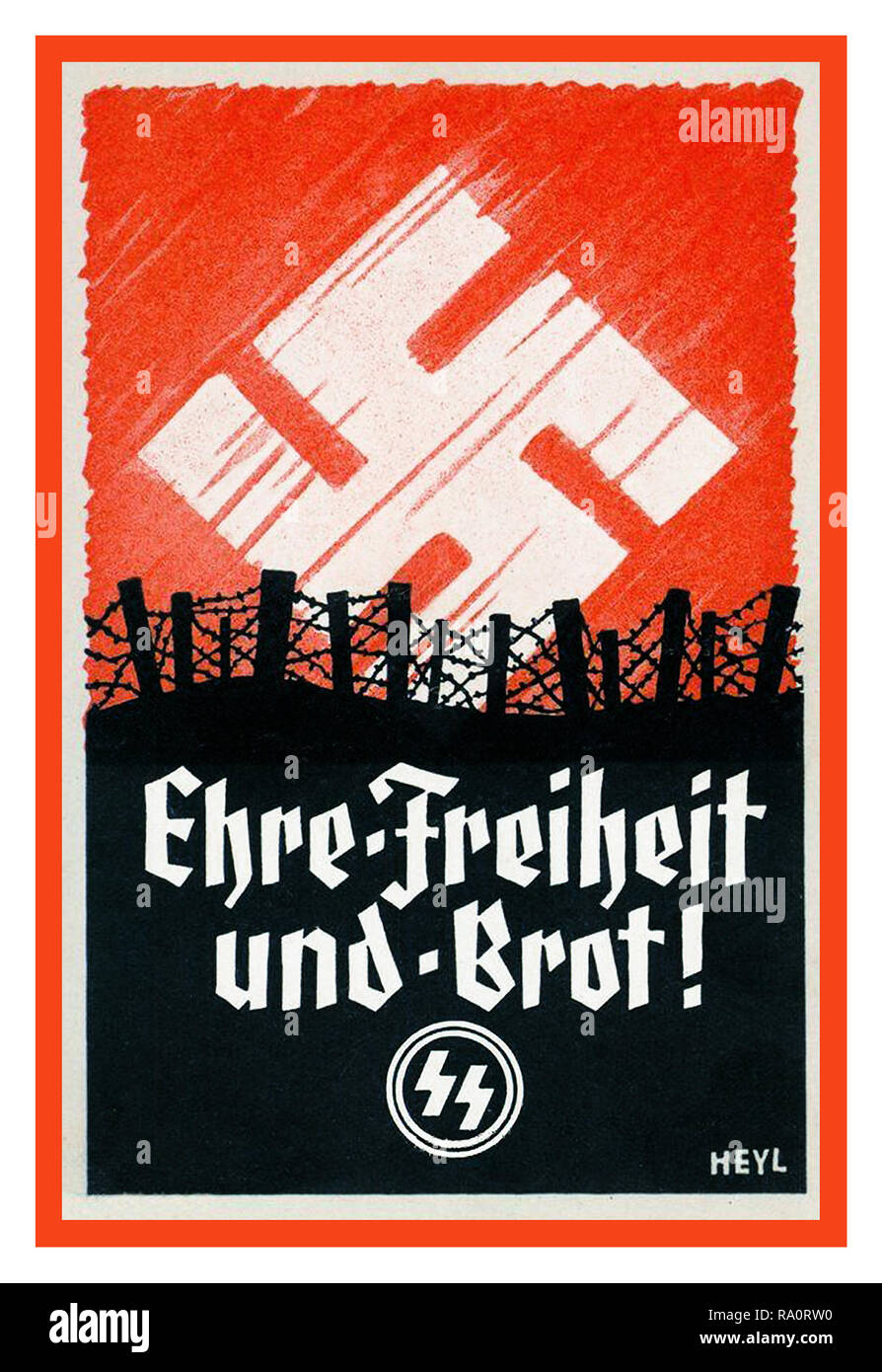 Vintage WW2 Nazi Germany SS Army Propaganda Recruitment Poster for the Waffen SS  'Honour Freedom and Bread' in a battlefield situation with Nazi Swastika as emblematic sunrise - Stock Image