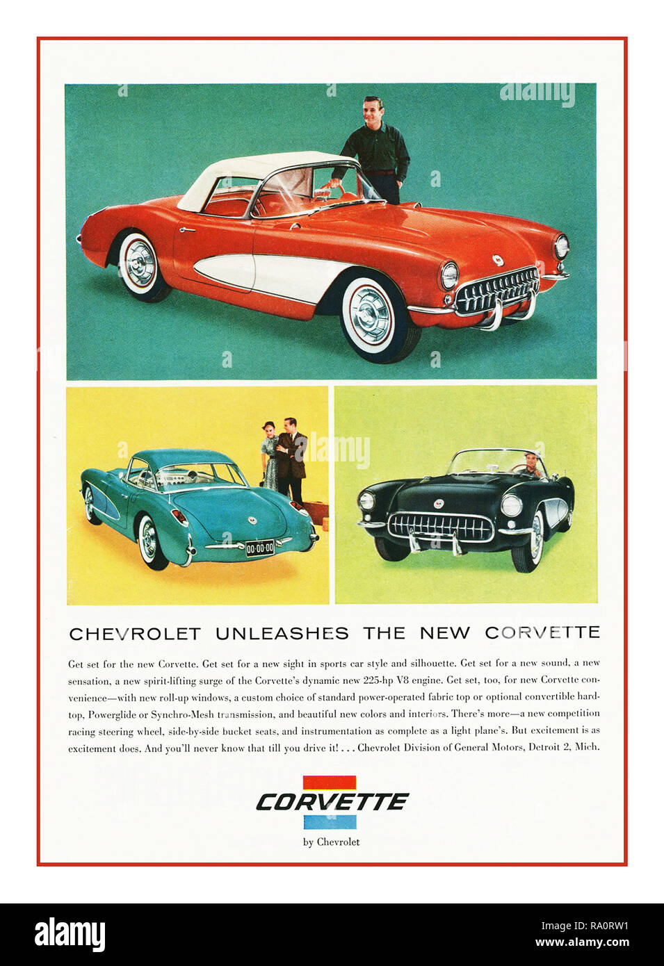 """CORVETTE 1960's Vintage American Automobile advertisement 1961 Chevrolet Corvette Advertisement """" Chevrolet Unleashes The New Corvette""""  Iconic Americana Automobile Sports Hard/Soft top touring 2+2 seater car America Muscle Car - Stock Image"""