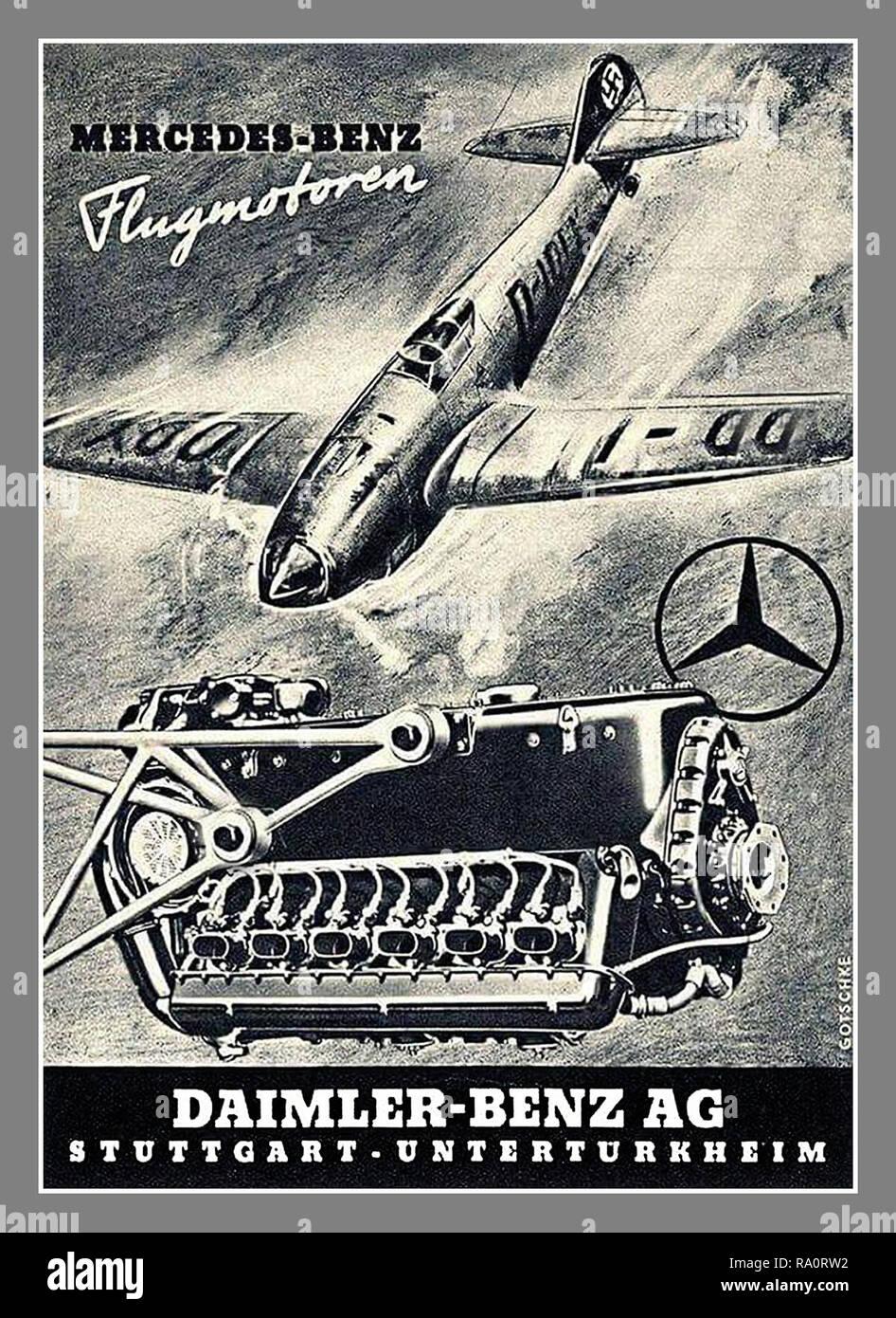 Vintage World War II Nazi Germany Mercedes Poster Press advertisement 1940 WW2 Daimler-Benz Mercedes-Benz Engine for Fighter Aircraft Messerschmitt Bf 109 with Nazi Germany Swastika tail fin Daimler-Benz/Mercedes-Benz Flugmotoren-Aviation engines wartime Nazi Germany advertising. - Stock Image
