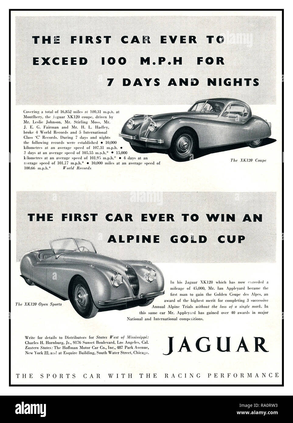 JAGUAR 1950 Vintage advertisement for Jaguar XK120 super sports cars The Coupe and Open Sports 'The fastest production sports car in the world, first to exceed 100mph for 7 days and nights endurance race. The most outstanding car of its generation designed and built in Great Britain UK - Stock Image