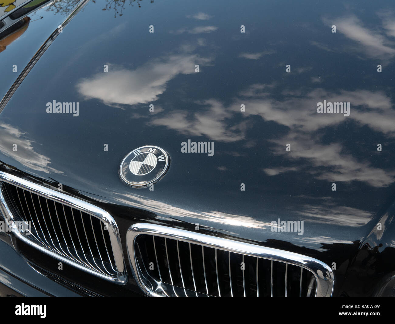 Kyiv Ukraine April 28 2018 View From Top On Bmw Black Polished Shiny Car Hood With Emblem Stock Photo Alamy