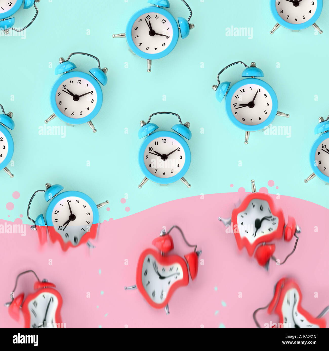 Time is running out concept shows blue alarm clocks that is dissolving down by melting in pastel pink liquid substance . Surreal style image Stock Photo