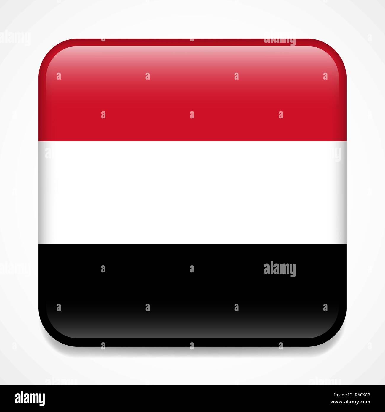 Flag of Yemen. Square glossy badge - Stock Vector