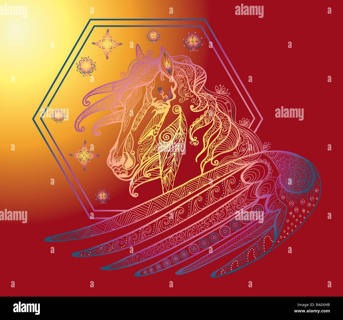 Vector Hand Drawing Illustration Zentangle Magic Horse In Different Colors Isolated On Gradient Background Colorful Doodle Pegasus Illustration With Stock Vector Image Art Alamy