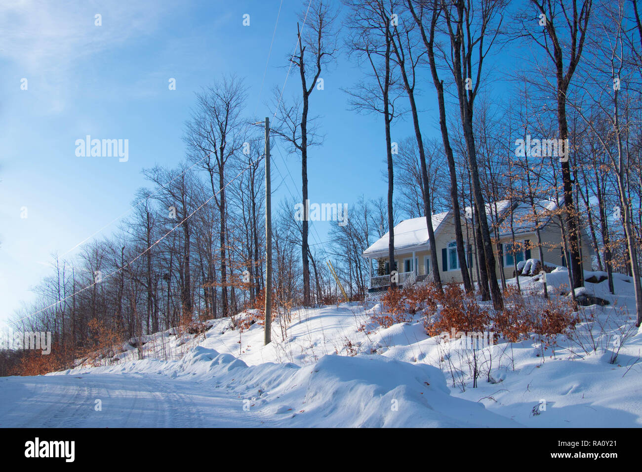 Yellow house - Countryside scene in Winter in a Sunny day. Canadian landscape - Stock Image