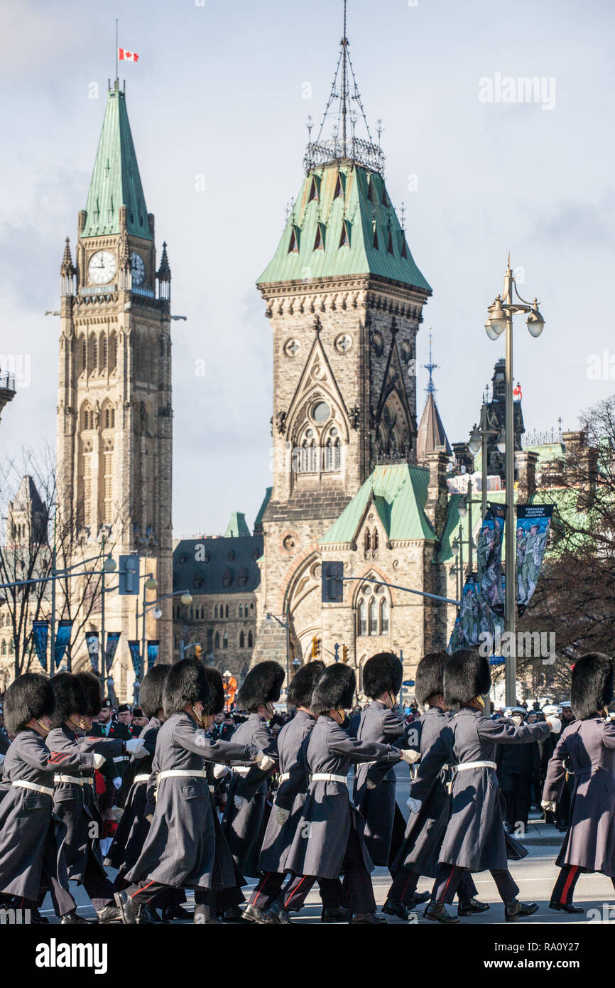 OTTAWA, CANADA - NOVEMBER 11, 2018: Ceremonial Guard of the Governor General Foot Guards of Canada, parading during remebrance day in front of the Can - Stock Image