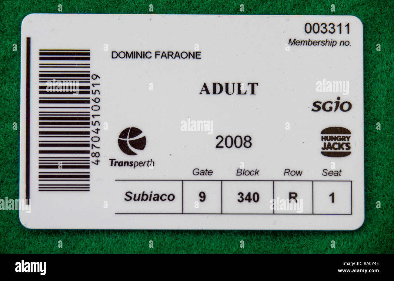 Back of West Coast Eagles Football Club membership card for the year 2002. - Stock Image
