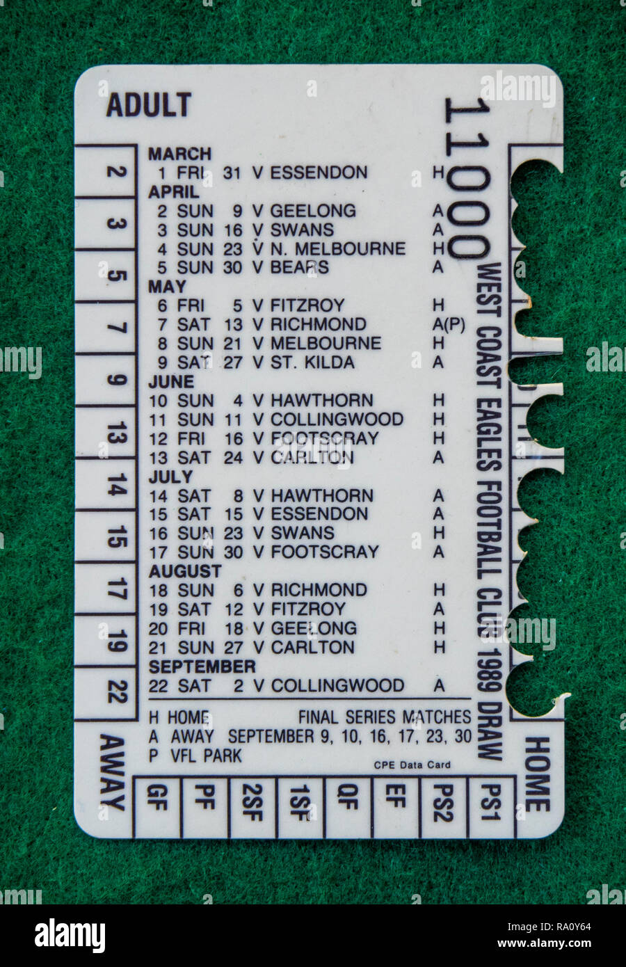 Back of West Coast Eagles Football Club membership card for the year 2000 - Stock Image