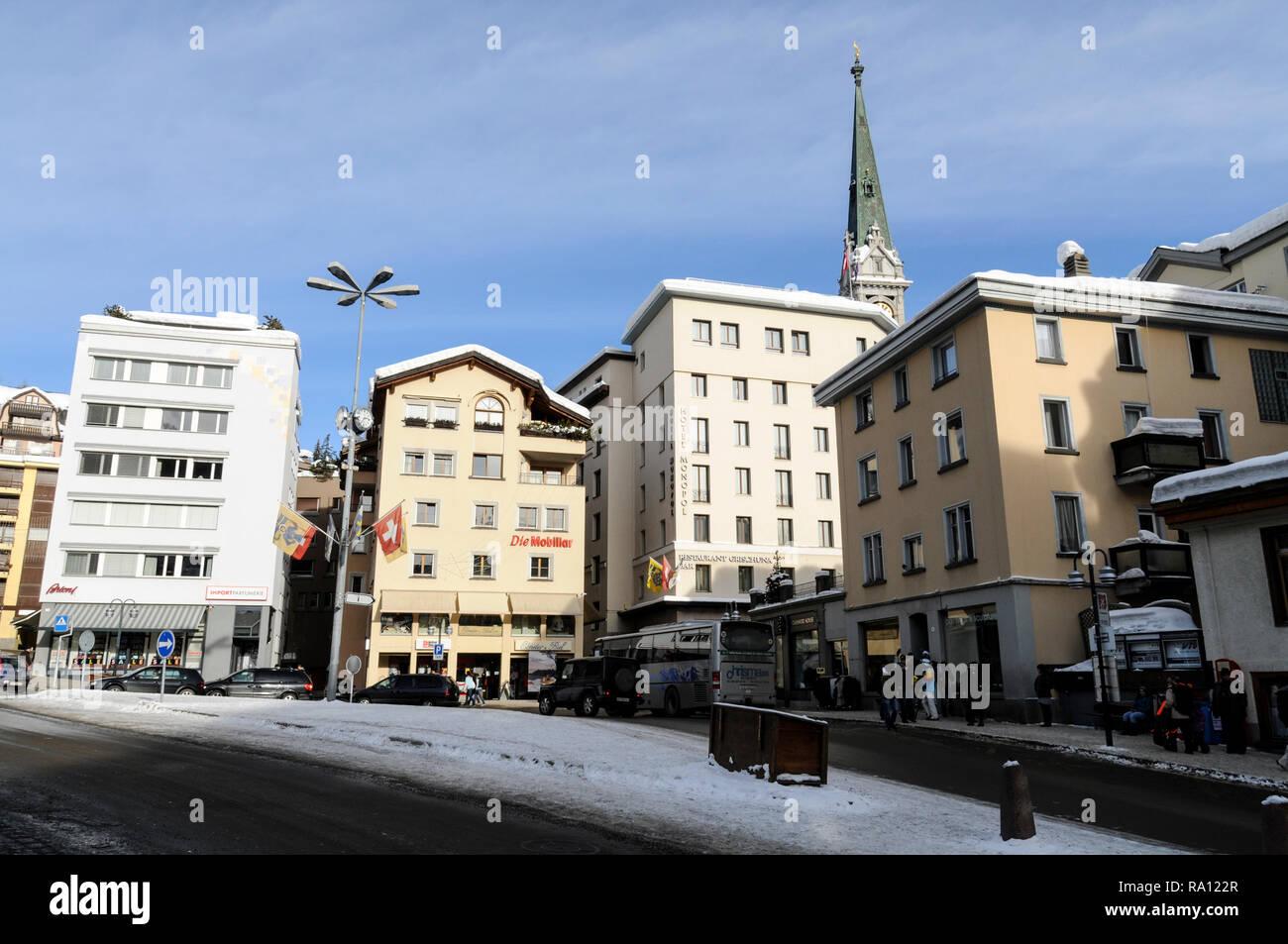 Place da la Posta Veglia in St. Moritz,Switzerland - Stock Image