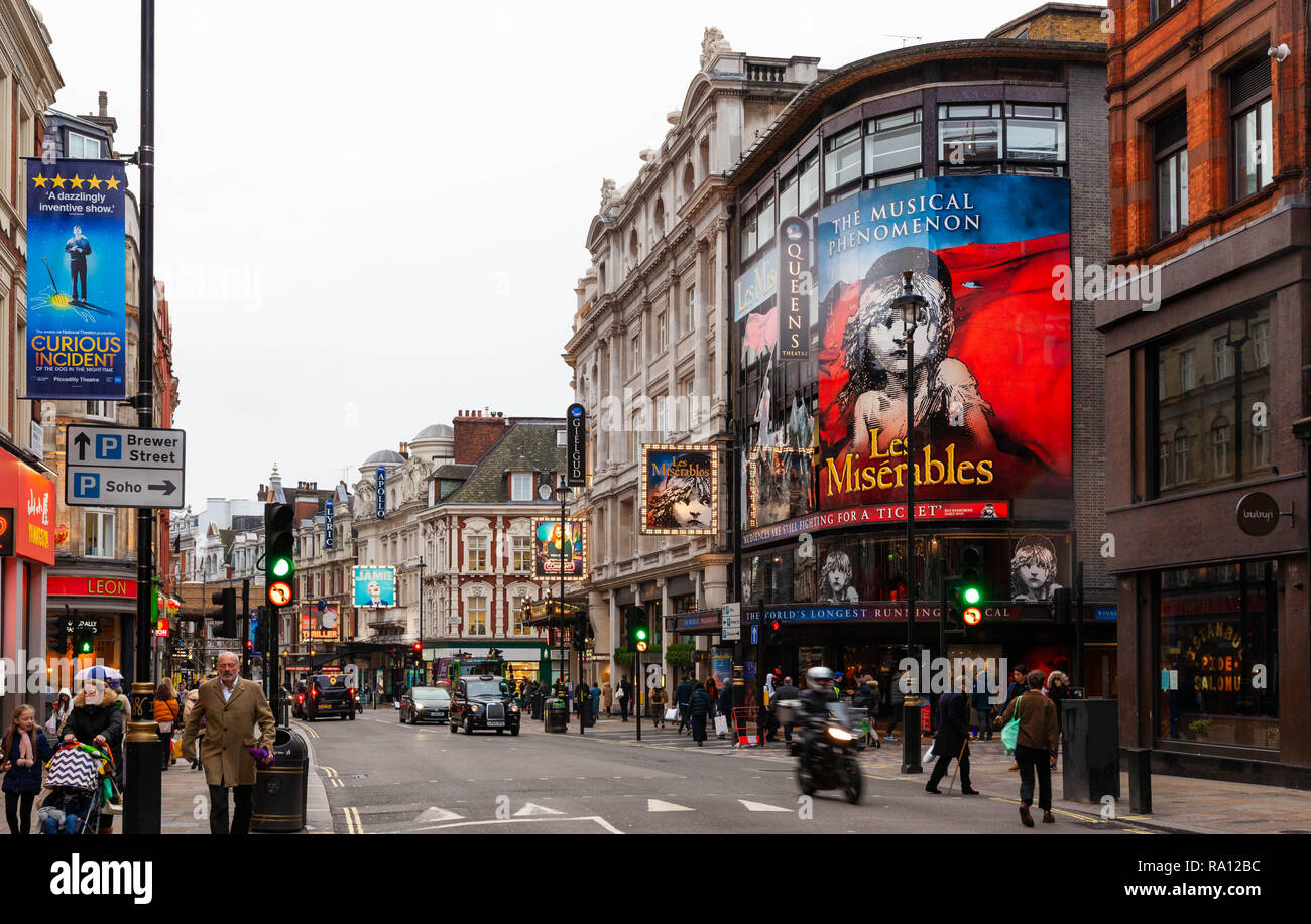 The West End theatre district, Shaftesbury Avenue, London, City of Westminster, W1, England, UK. - Stock Image