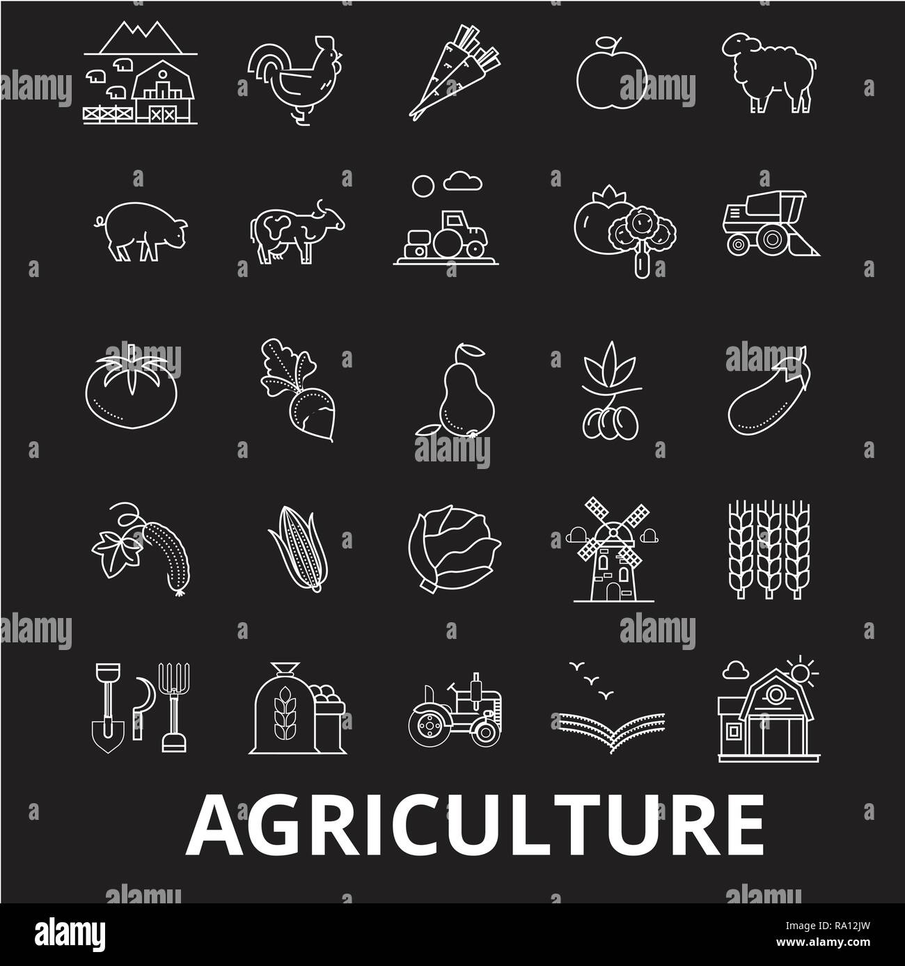 Agriculture editable line icons vector set on black background. Agriculture white outline illustrations, signs, symbols - Stock Vector