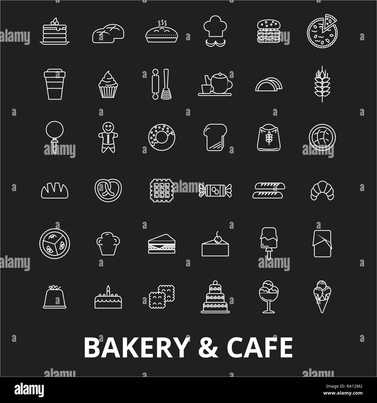 Bakery editable line icons vector set on black background. Bakery white outline illustrations, signs, symbols - Stock Image