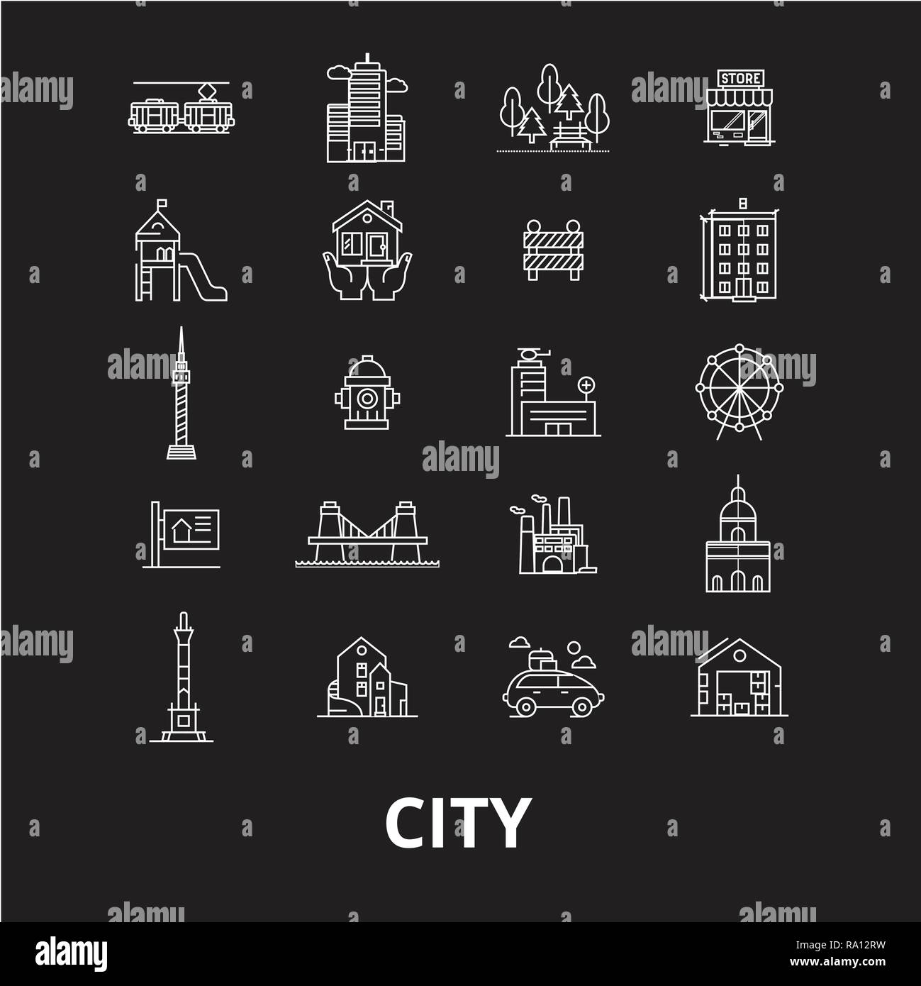 City editable line icons vector set on black background. City white outline illustrations, signs, symbols Stock Vector