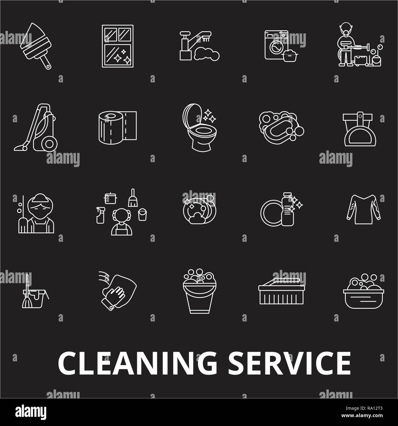 Cleaning service editable line icons vector set on black background. Cleaning service white outline illustrations, signs, symbols - Stock Vector