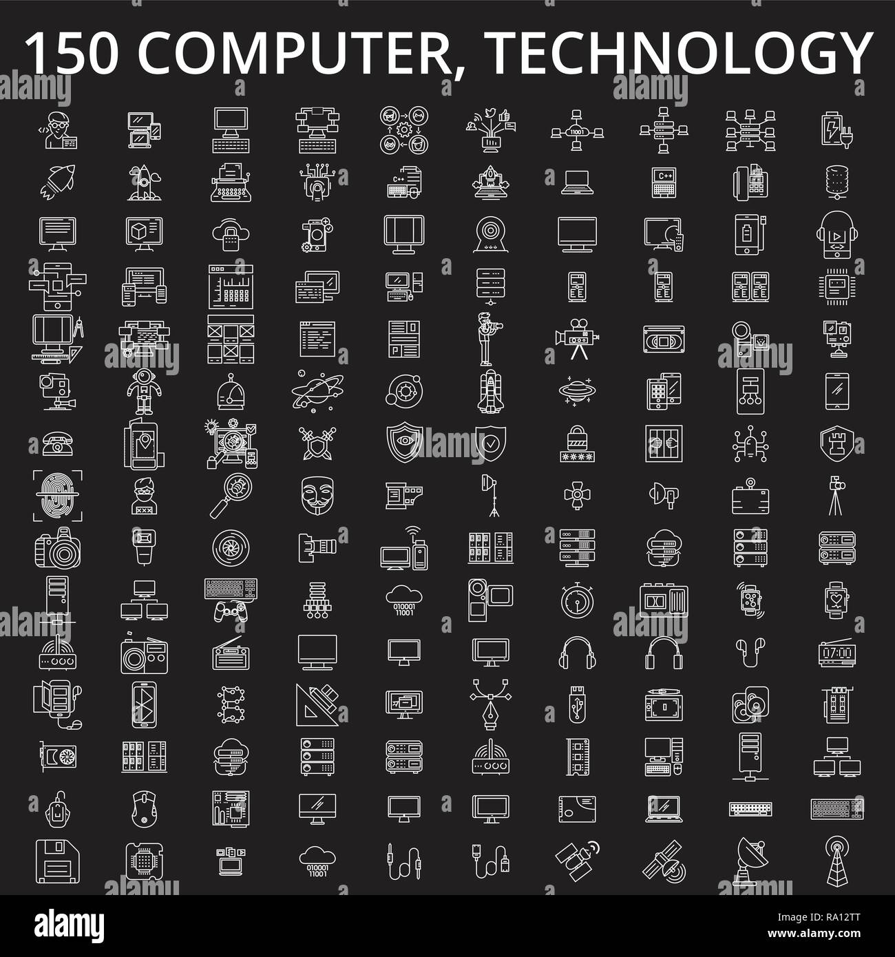 Computer, technology editable line icons vector set on black background. Computer, technology white outline illustrations, signs, symbols - Stock Image