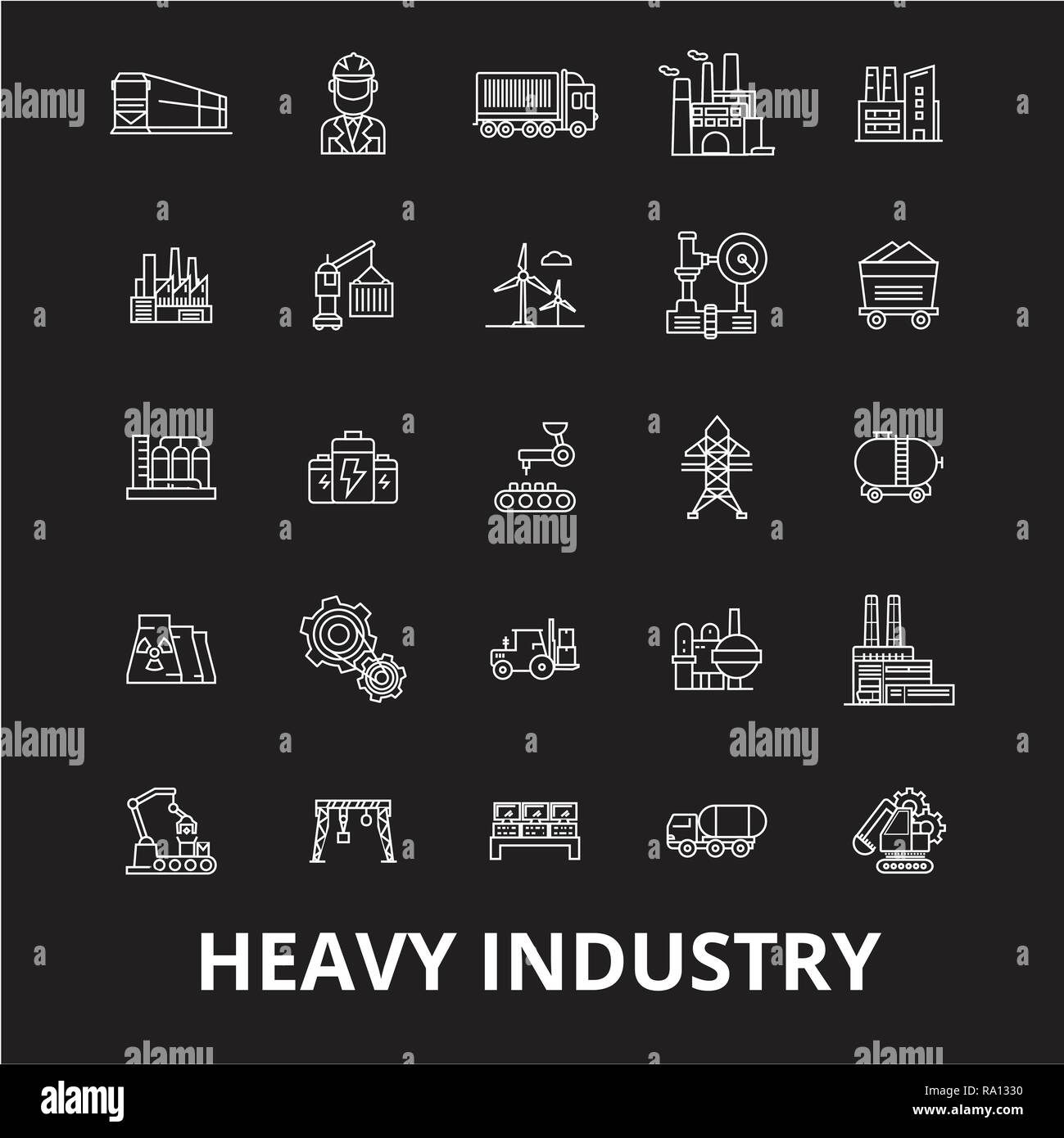 Heavy industry editable line icons vector set on black background. Heavy industry white outline illustrations, signs, symbols - Stock Vector