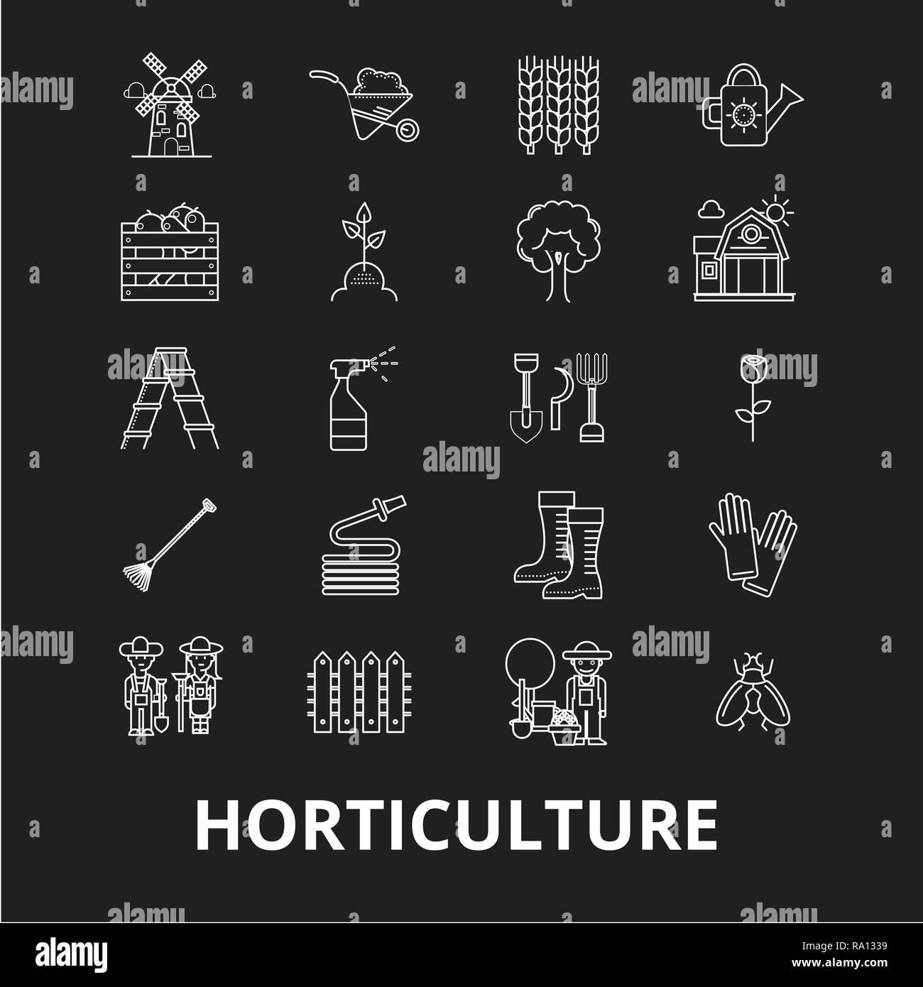 Horticulture editable line icons vector set on black background. Horticulture white outline illustrations, signs, symbols Stock Vector