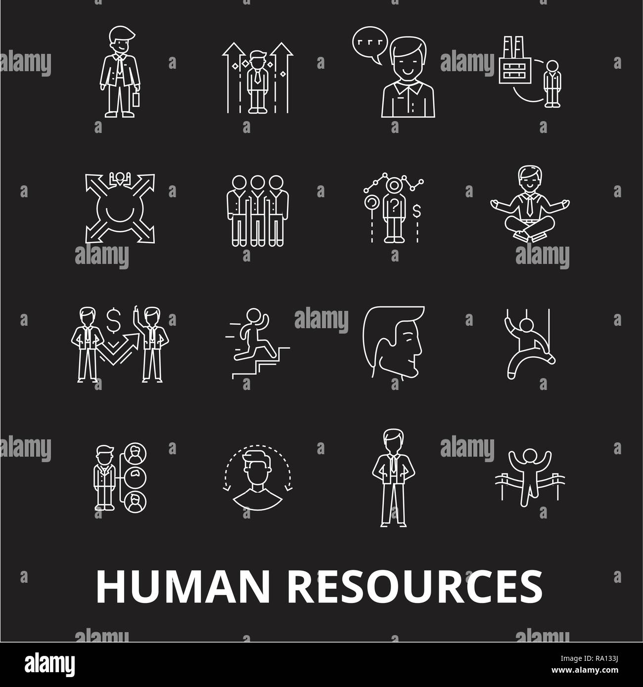 Human resources editable line icons vector set on black background. Human resources white outline illustrations, signs, symbols - Stock Vector