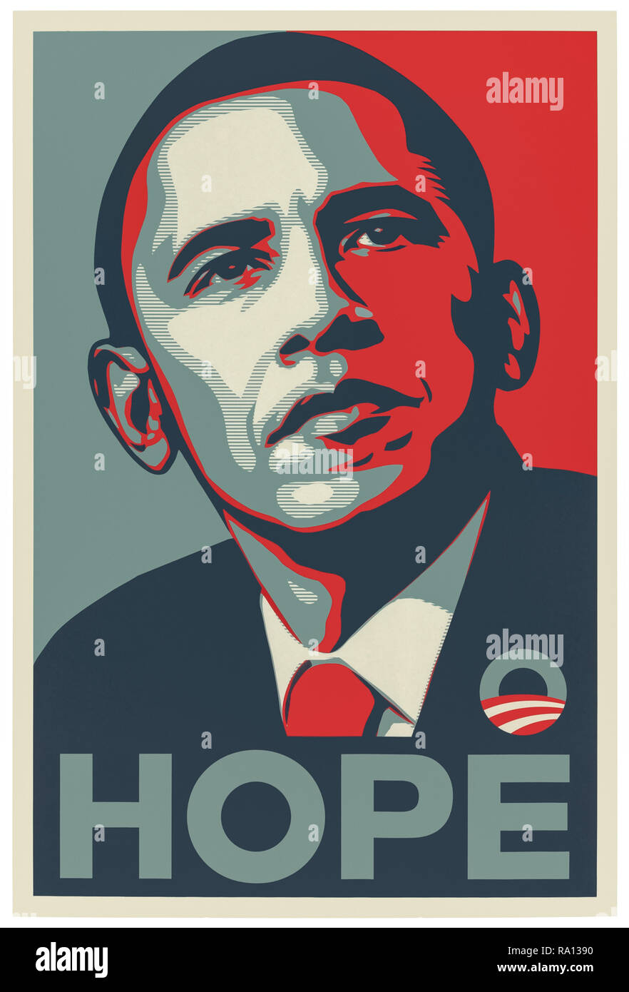 HOPE 2008 Barack Obama Presidential campaign poster designed by Shepard Fairey. The iconic poster uses the Gotham sans-serif typeface with a stencil portrait in red, beige and blue. - Stock Image