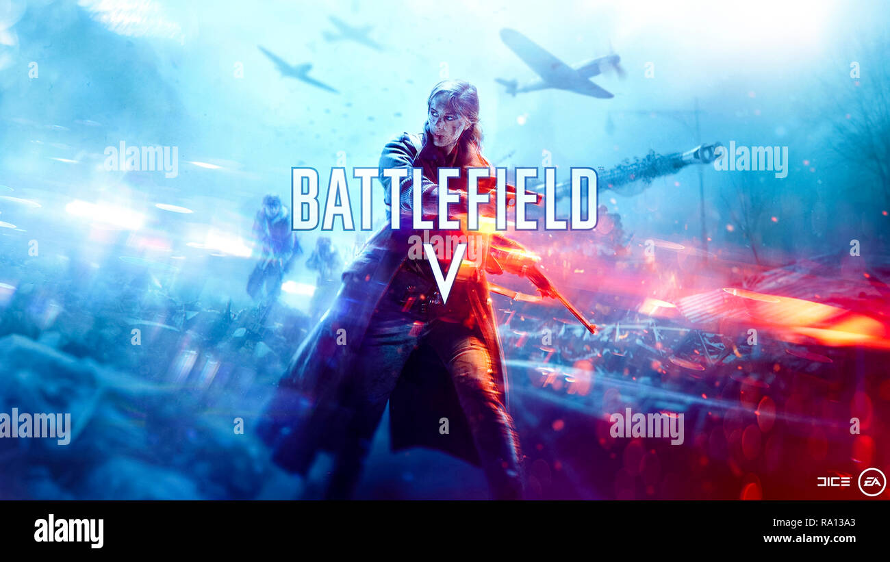 BATTLEFIELD V first-person shooter video game artwork released by EA DICE and published by Electronic Arts in 2018 controversially featuring a female soldier although the game is set during the Second World War. - Stock Image
