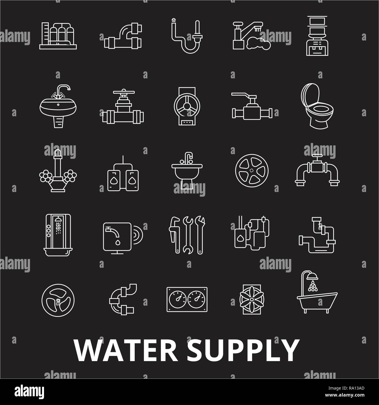 Water supply editable line icons vector set on black background. Water supply white outline illustrations, signs, symbols - Stock Image