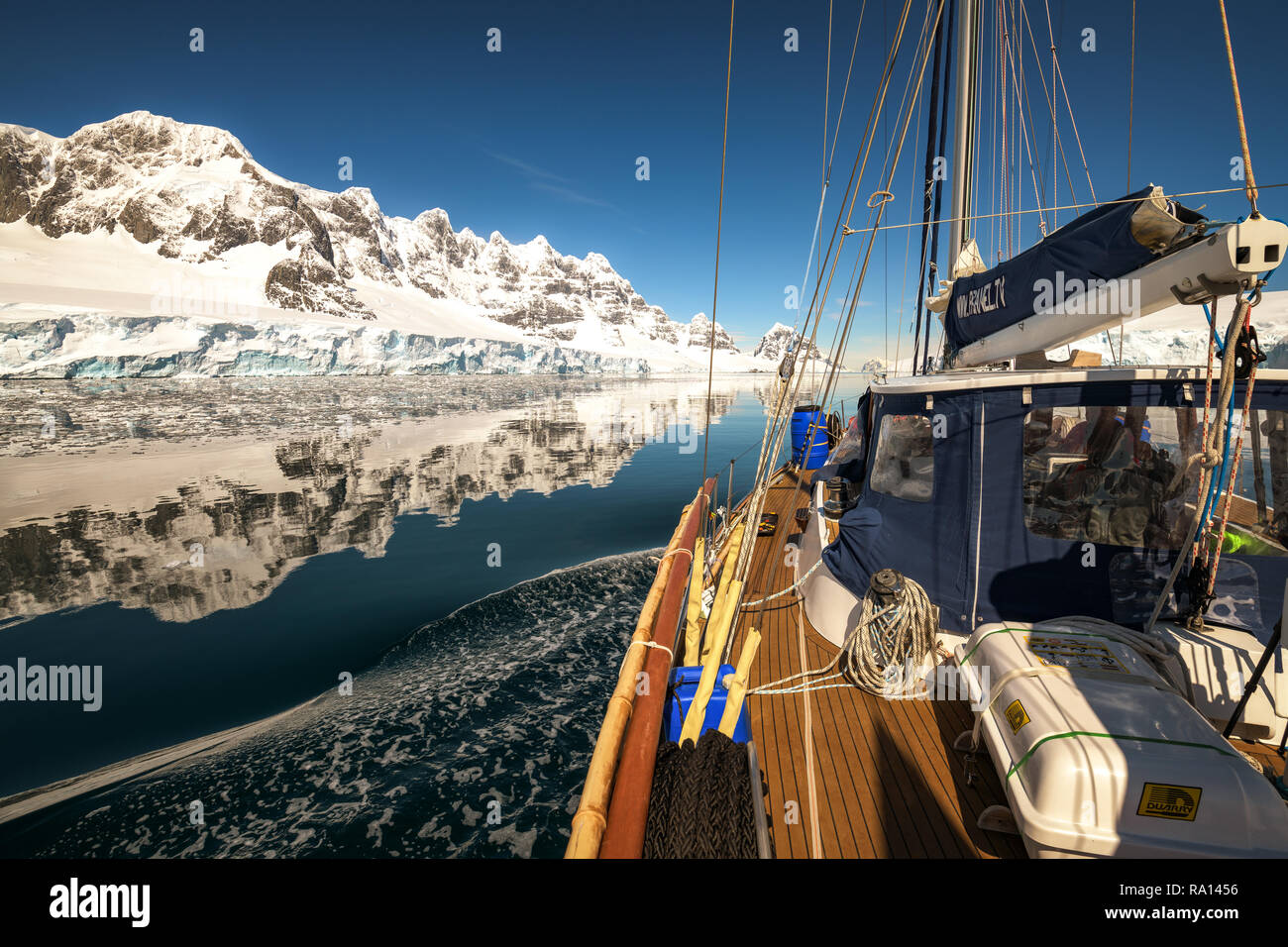 Sailing through Neumayer Channel, Antarctica Stock Photo