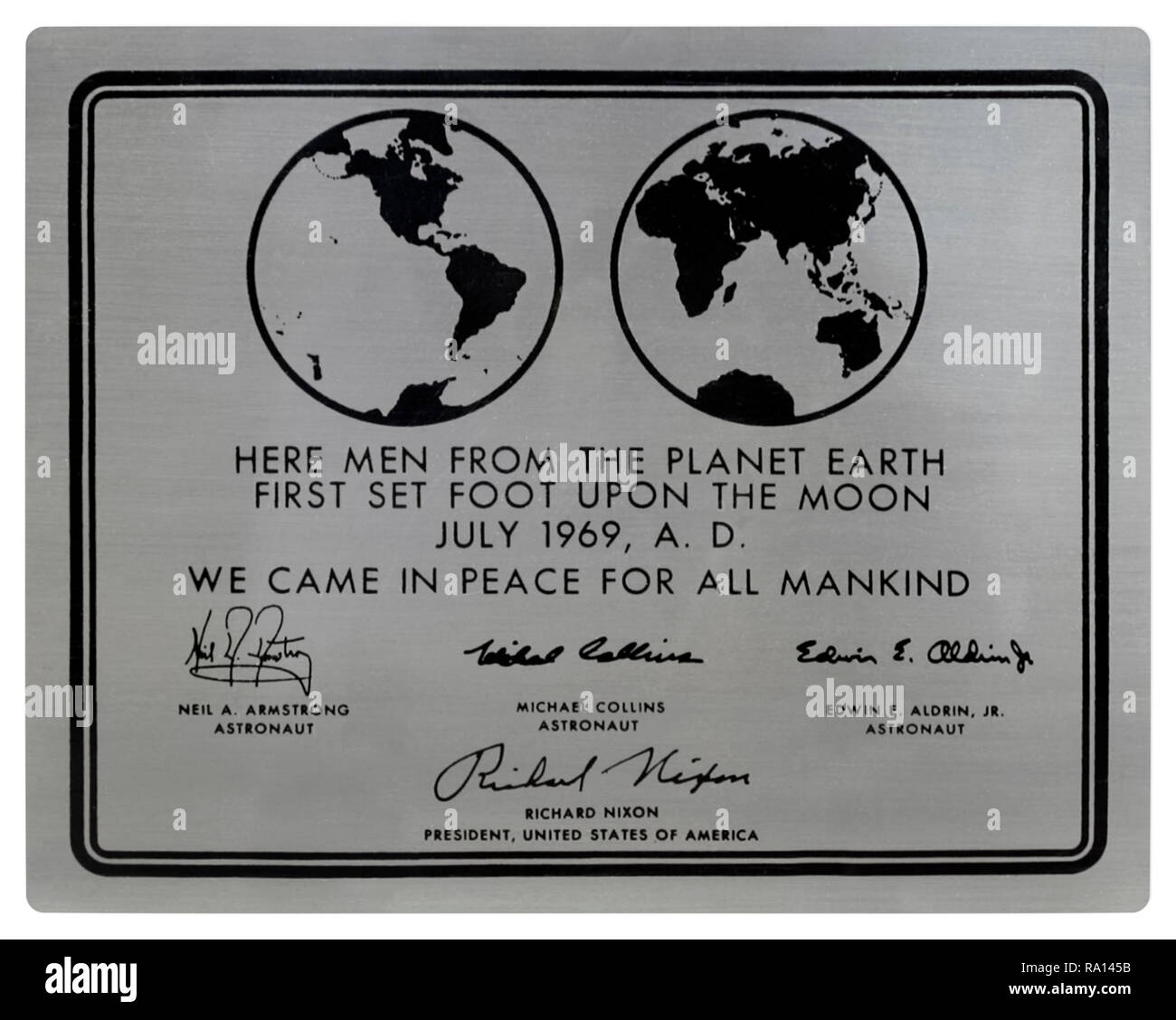 """An Apollo 11 stainless steel plaque as attached to the Apollo Lunar Modules that landed on the moon. Designed by Jack Kinzler, NASA the text reads: """"Here Men From The Planet Earth First Set Foot Upon The Moon, July, 1969, AD. We Came In Peace For All Mankind' followed by the engraved signatures of bears the signatures of Neil Armstrong, Michael Collins, Buzz Aldrin, and President Richard Nixon. The plaques of all the successful missions that landed remain on the moon. - Stock Image"""