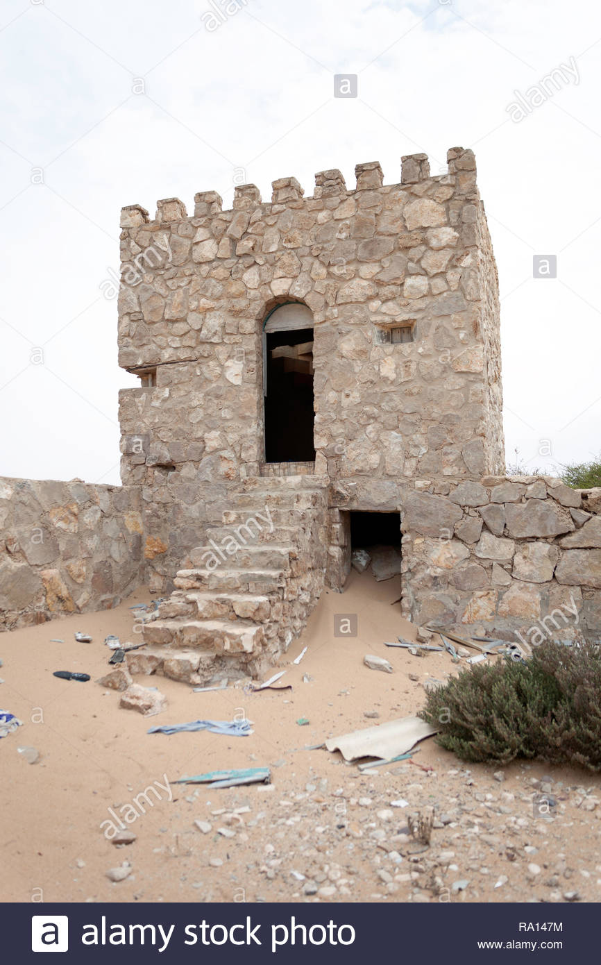 Nort-East tower of abandoned spanish fort in Laayoune Plage - Stock Image