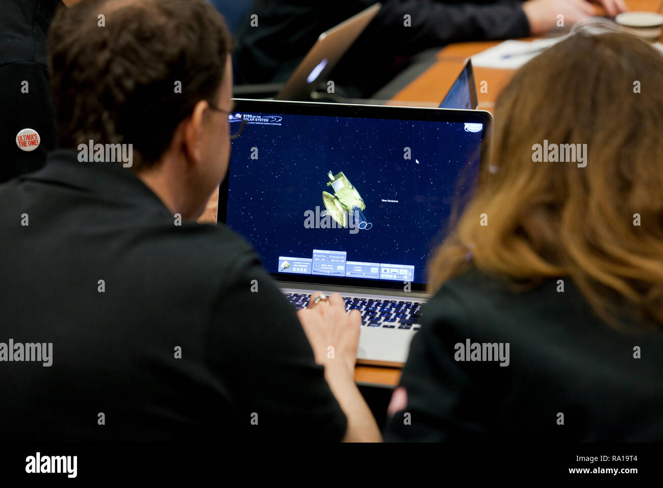 Laurel, Maryland USA, 29th December, 2018: The Johns Hopkins University Applied Physics Laboratory (APL) Mission Operations Center and  Science Operations Center prepare for its interplanetary space probe New Horizons flyby of a Kuiper Belt object Ultima Thule.  New Horizons is scheduled to arrive at Ultima Thule on 05:33 UTC, 1st, January 2019. Credit: B Christopher/Alamy Live News - Stock Image