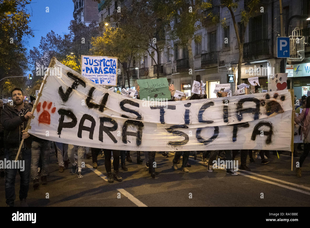 Barcelona, Catalonia, Spain  29th Dec, 2018  The banner with