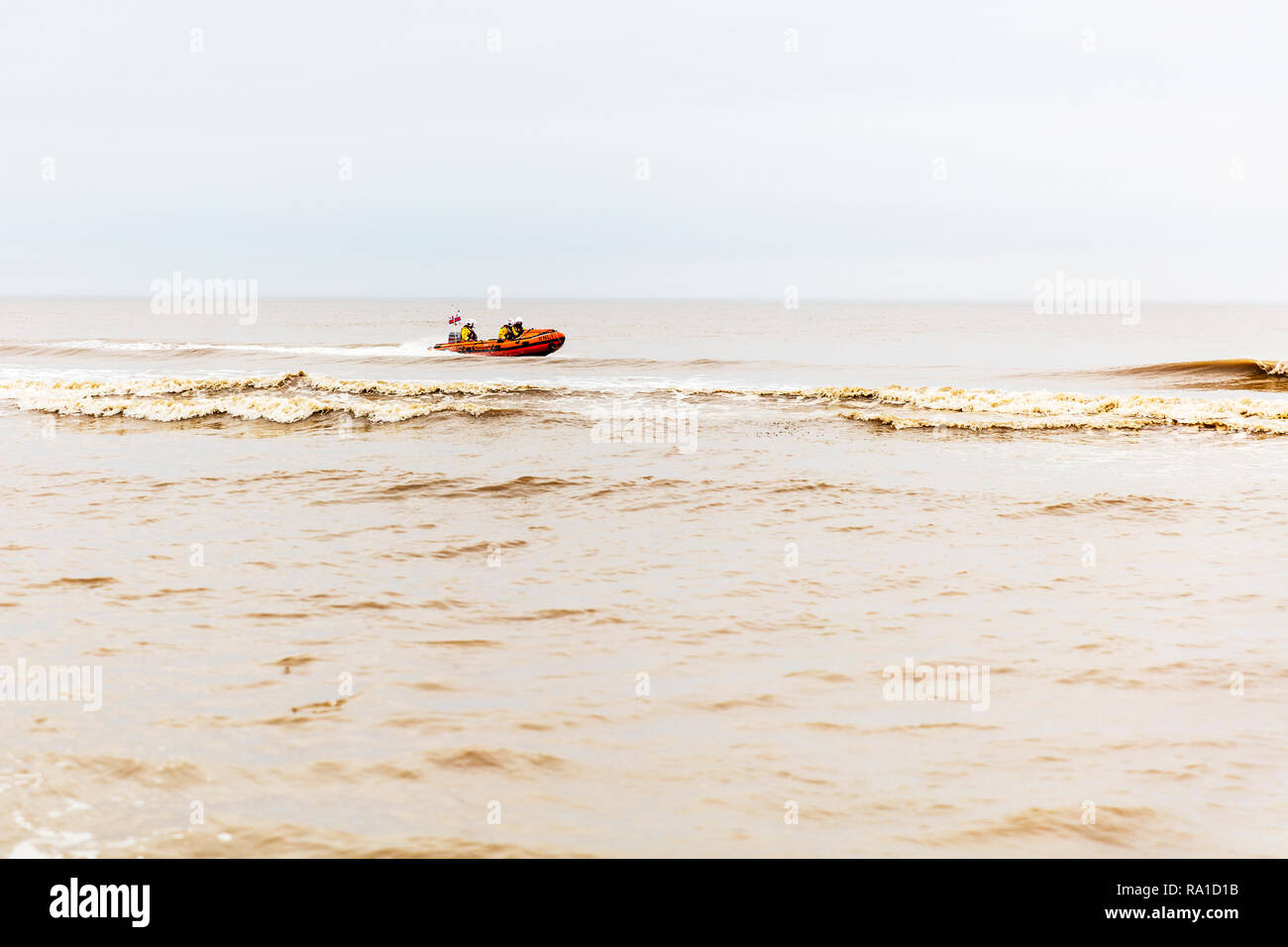 Mablethorpe, Lincolnshire, UK. 30th December 2018. Mablethorpe coastguard practicing maneuvers  in the open sea on the East coast of the UK at Mablethorpe, Lincolnshire on 30/12/2018 RNLI coastguard in boat in the sea in RNLI lifeboat Credit: Tommy  (Louth)/Alamy Live News Stock Photo