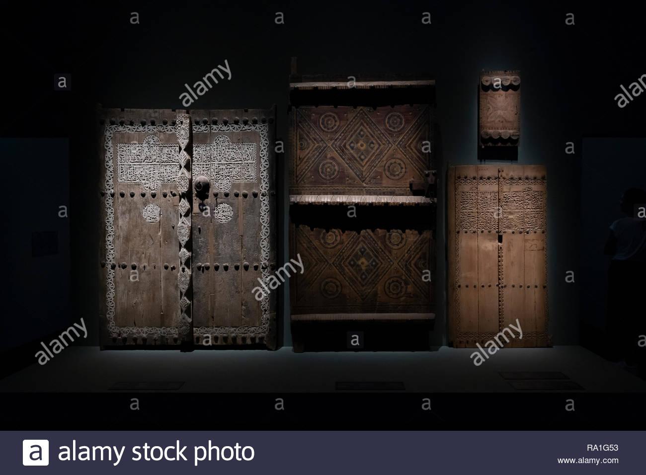 Abu Dhabi, UAE  30th Dec 2018  Ancient Doors from saudi Arabia (1800