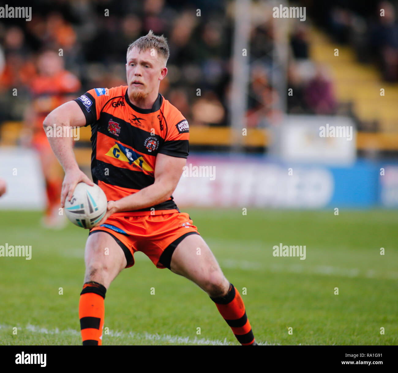 Castleford, UK. 30th December 2018. Cory Ashton of Castleford Tigers v Featherstone Rovers